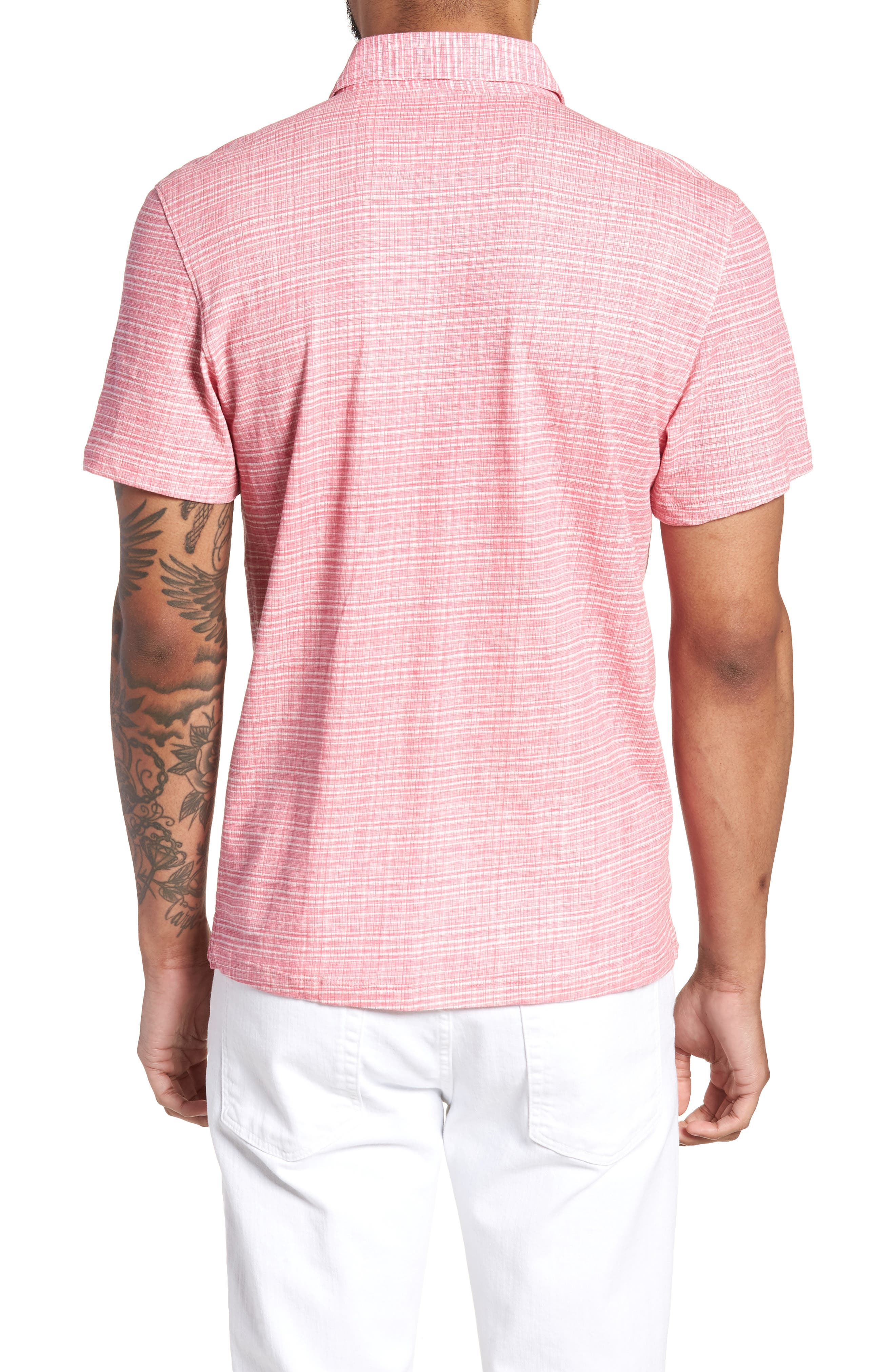 Cedar Regular Fit Grid Print Polo,                             Alternate thumbnail 2, color,                             Pink