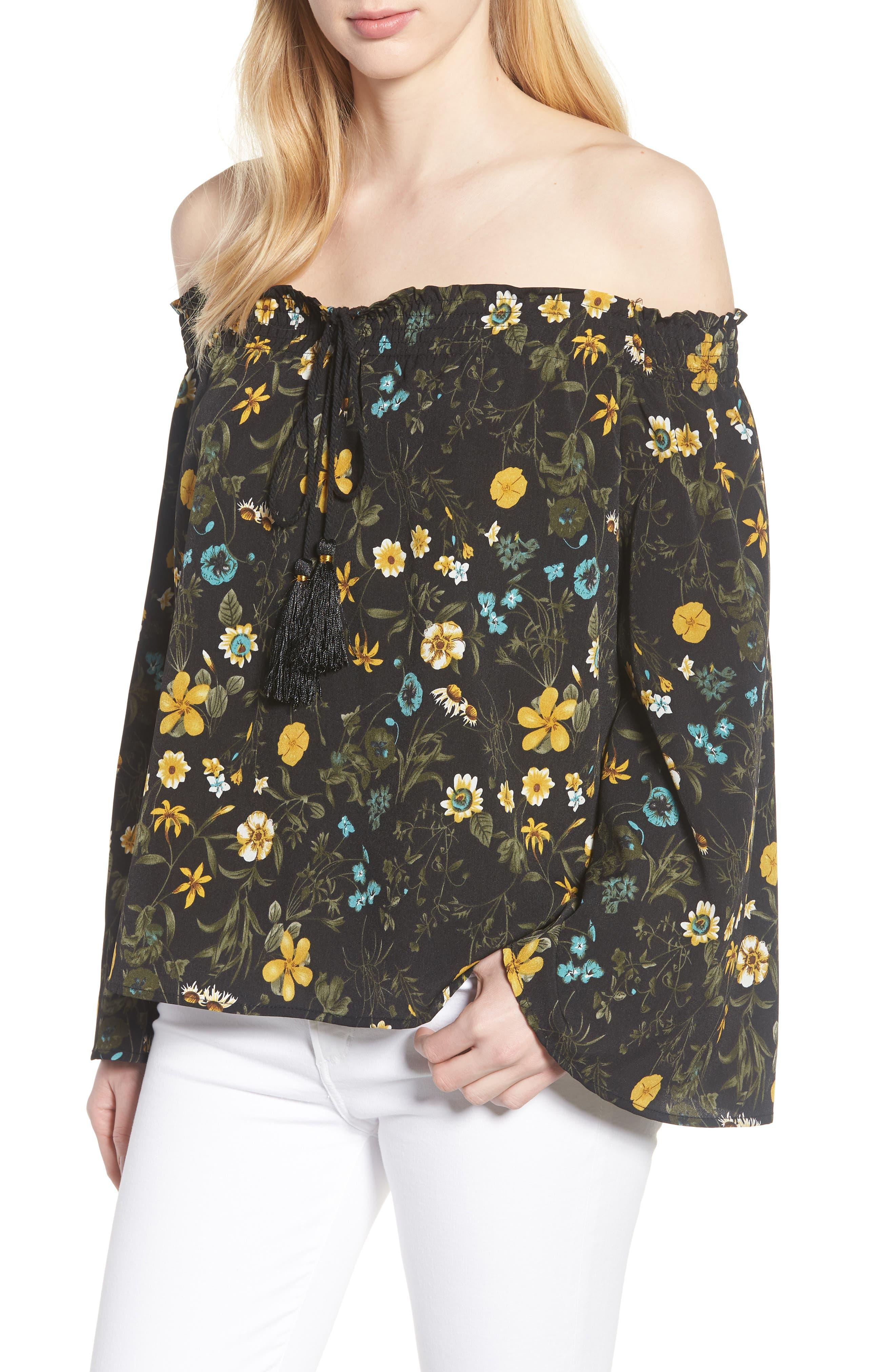 Off the Shoulder Tassel Top,                         Main,                         color, Black Floral