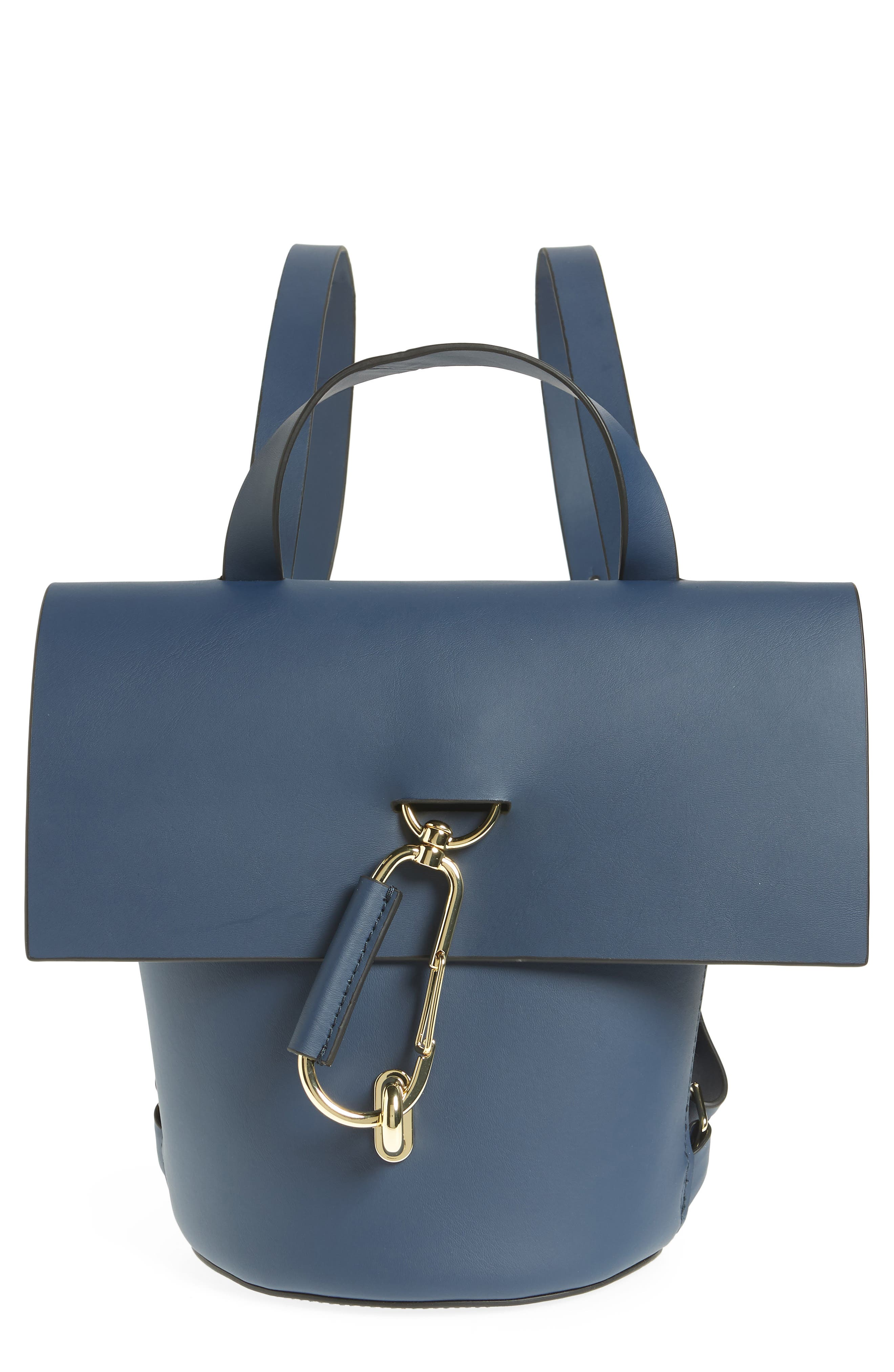 Belay Calfskin Leather Backpack,                         Main,                         color, Blue