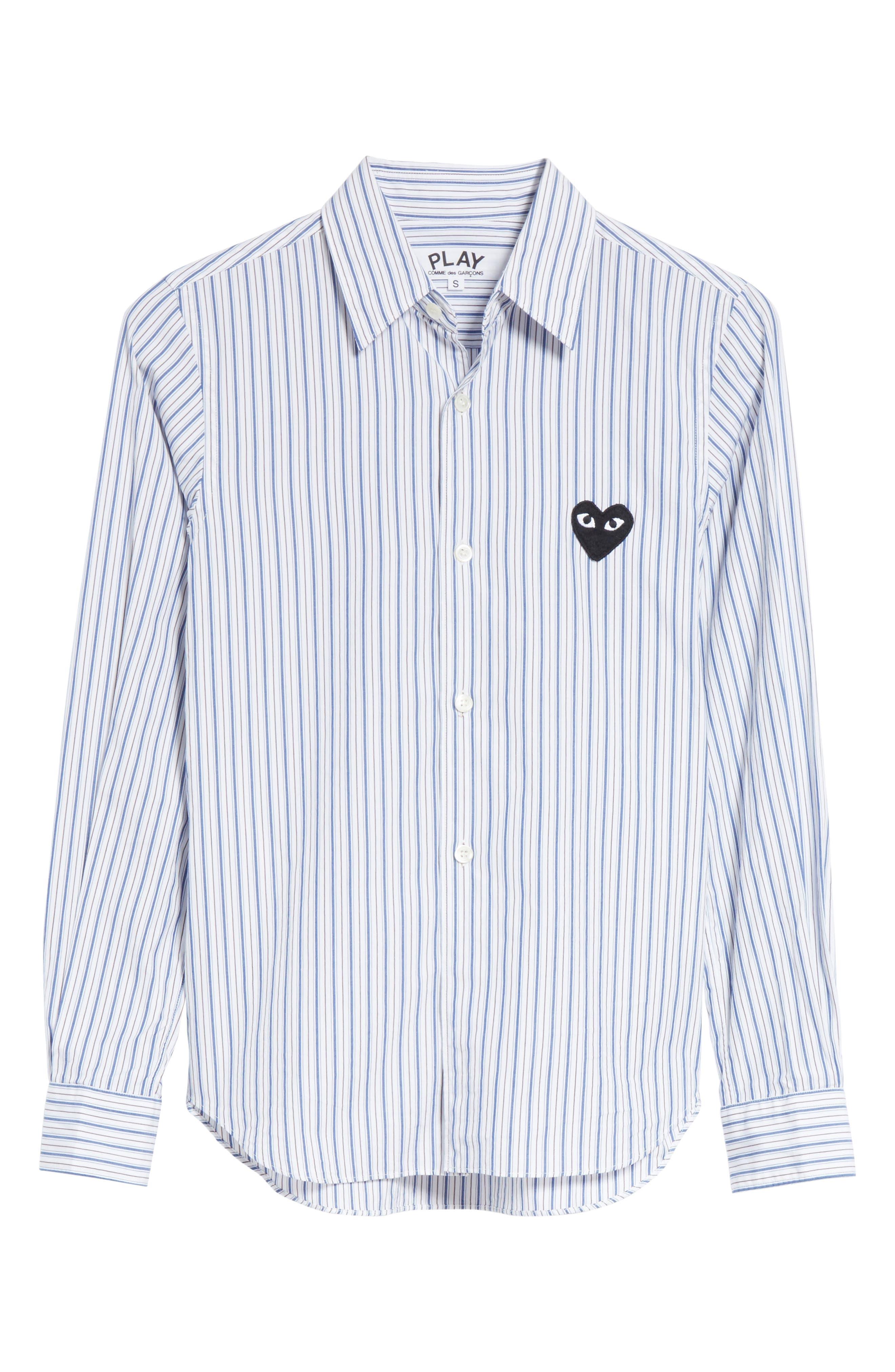 Comme des Garçons PLAY Stripe Shirt,                             Alternate thumbnail 6, color,                             Blue
