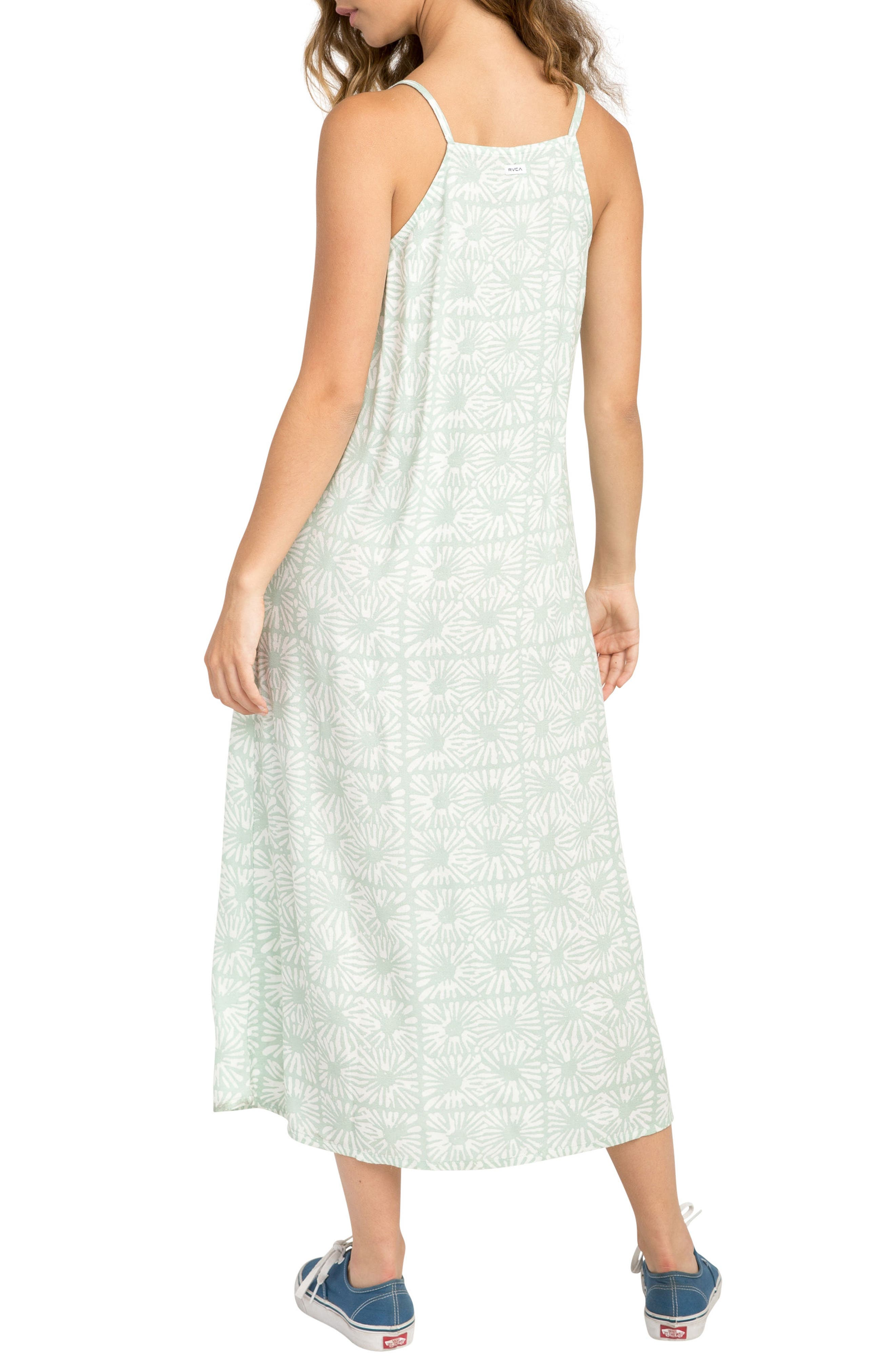 Garland Print Midi Dress,                             Alternate thumbnail 2, color,                             Artichoke
