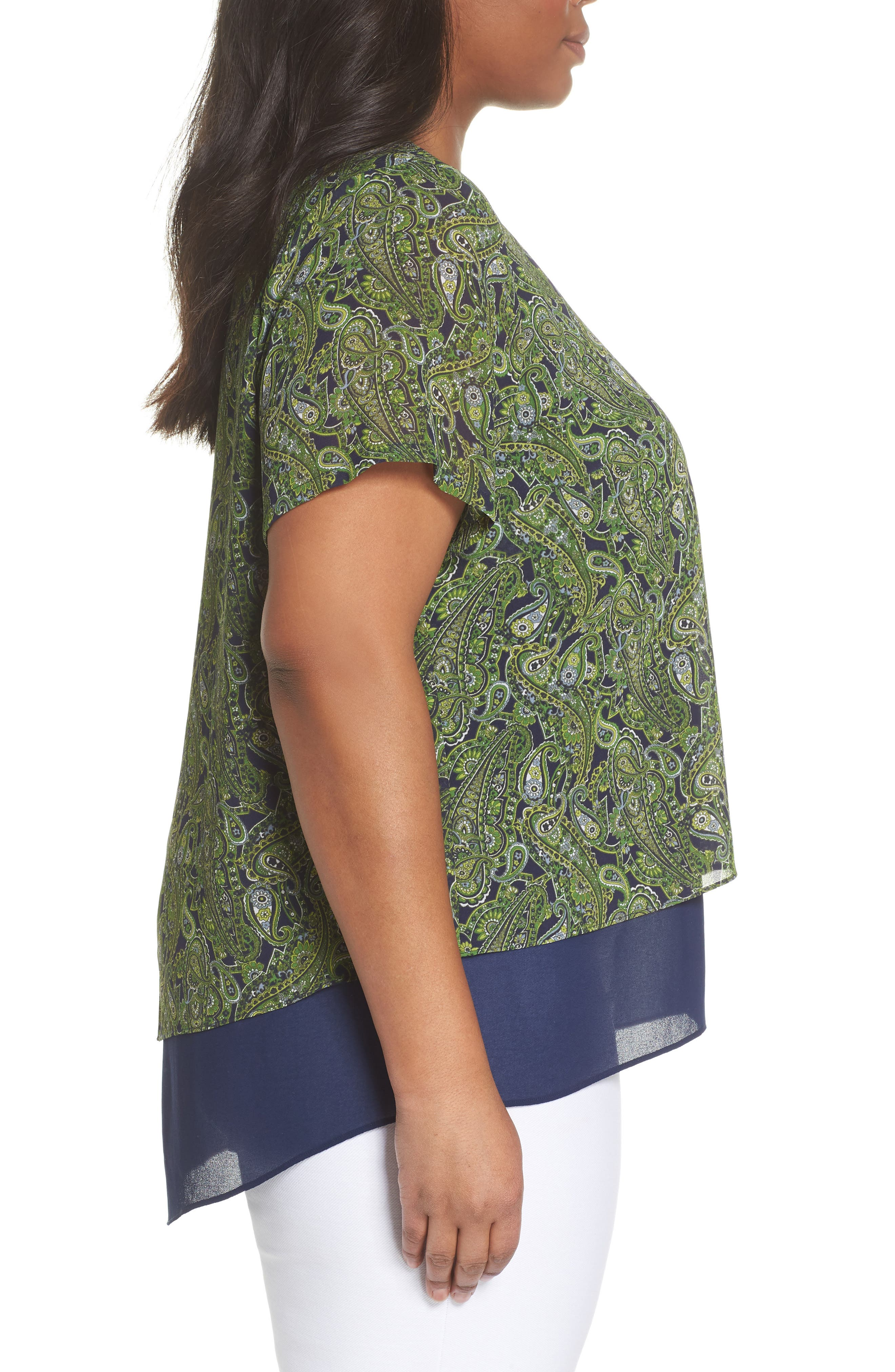 Paisley Paradise Layered Top,                             Alternate thumbnail 3, color,                             True Navy/ Green Apple Mu