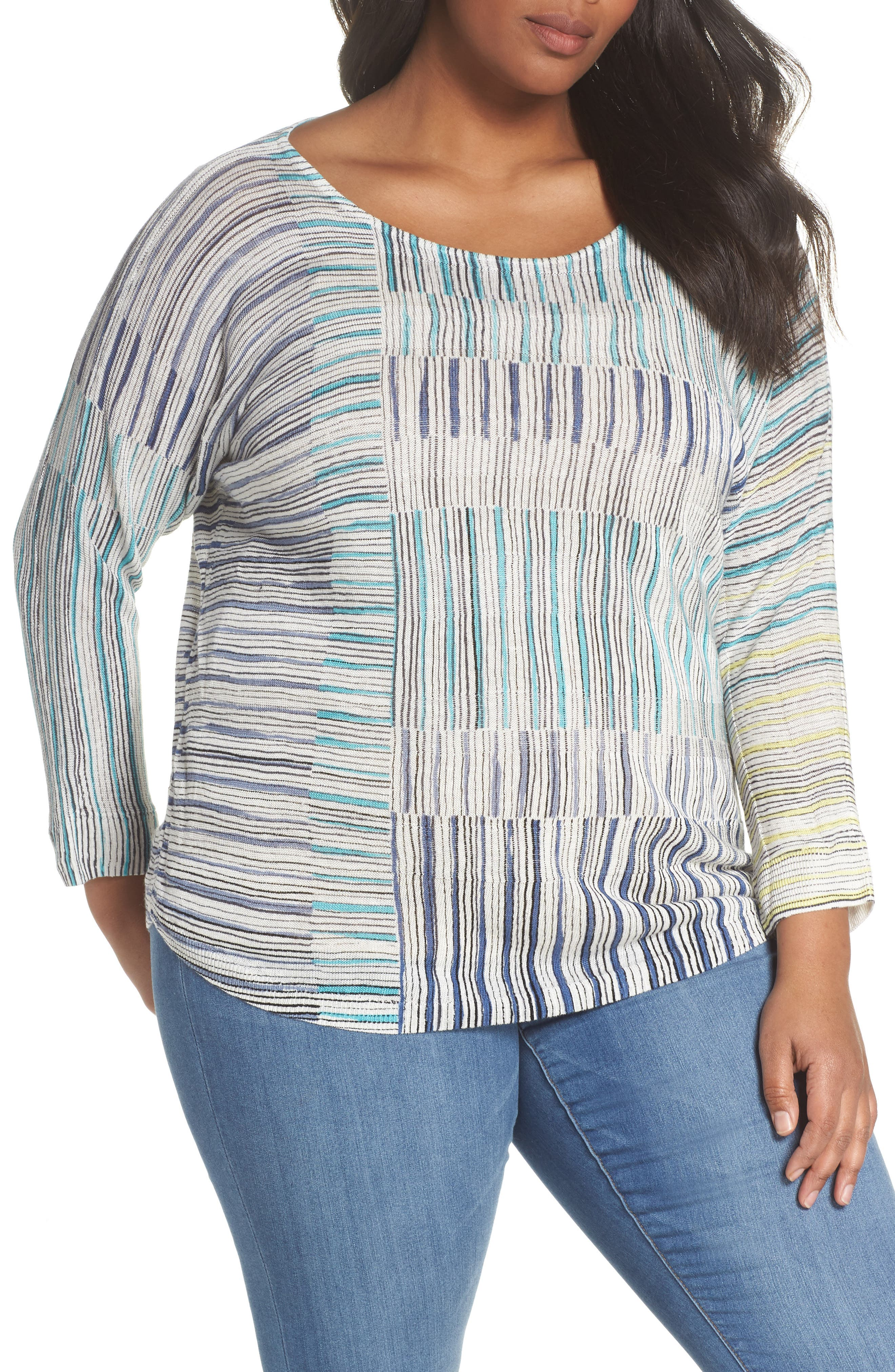 Alternate Image 1 Selected - NIC+ZOE Sea Wall Stripe Scoop Neck Top (Plus Size)