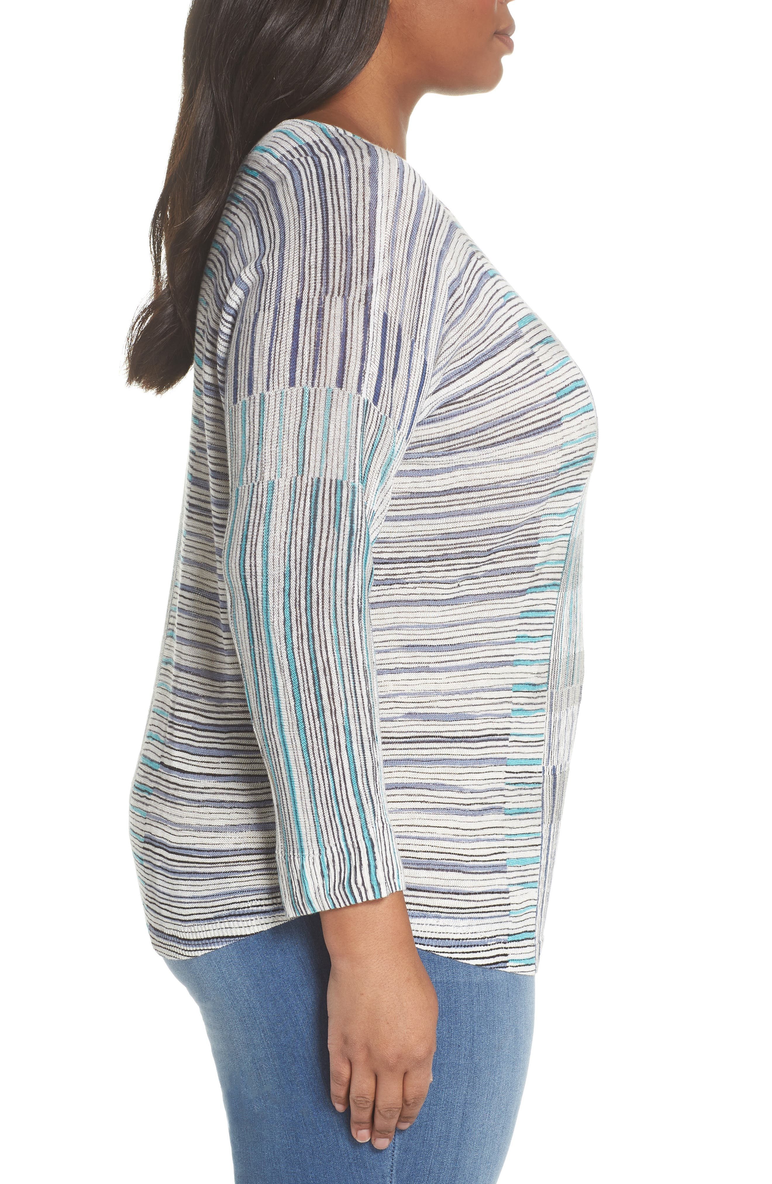 Sea Wall Stripe Scoop Neck Top,                             Alternate thumbnail 3, color,                             Multi