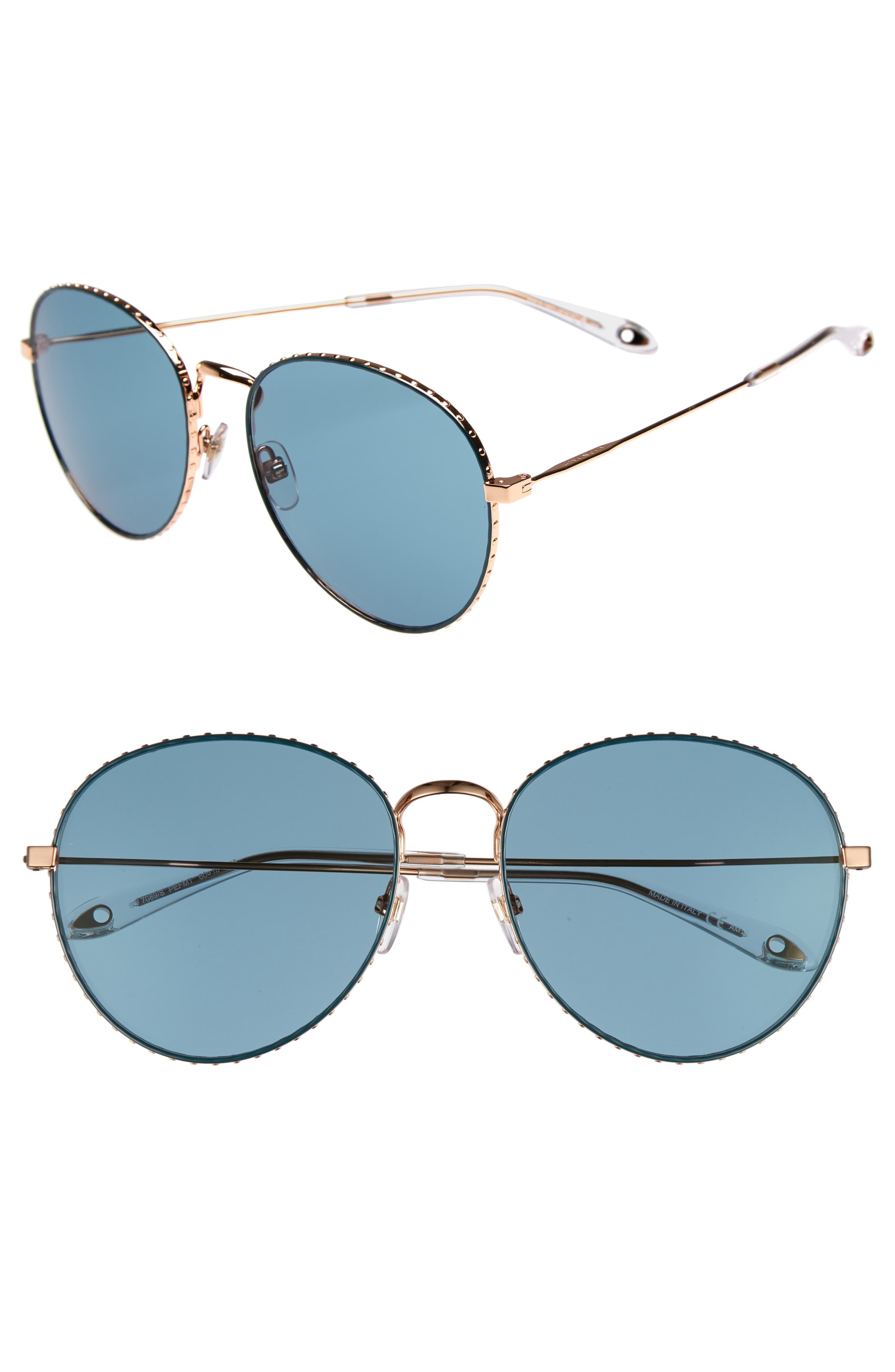 60mm Round Metal Sunglasses,                         Main,                         color, Gold/ Green