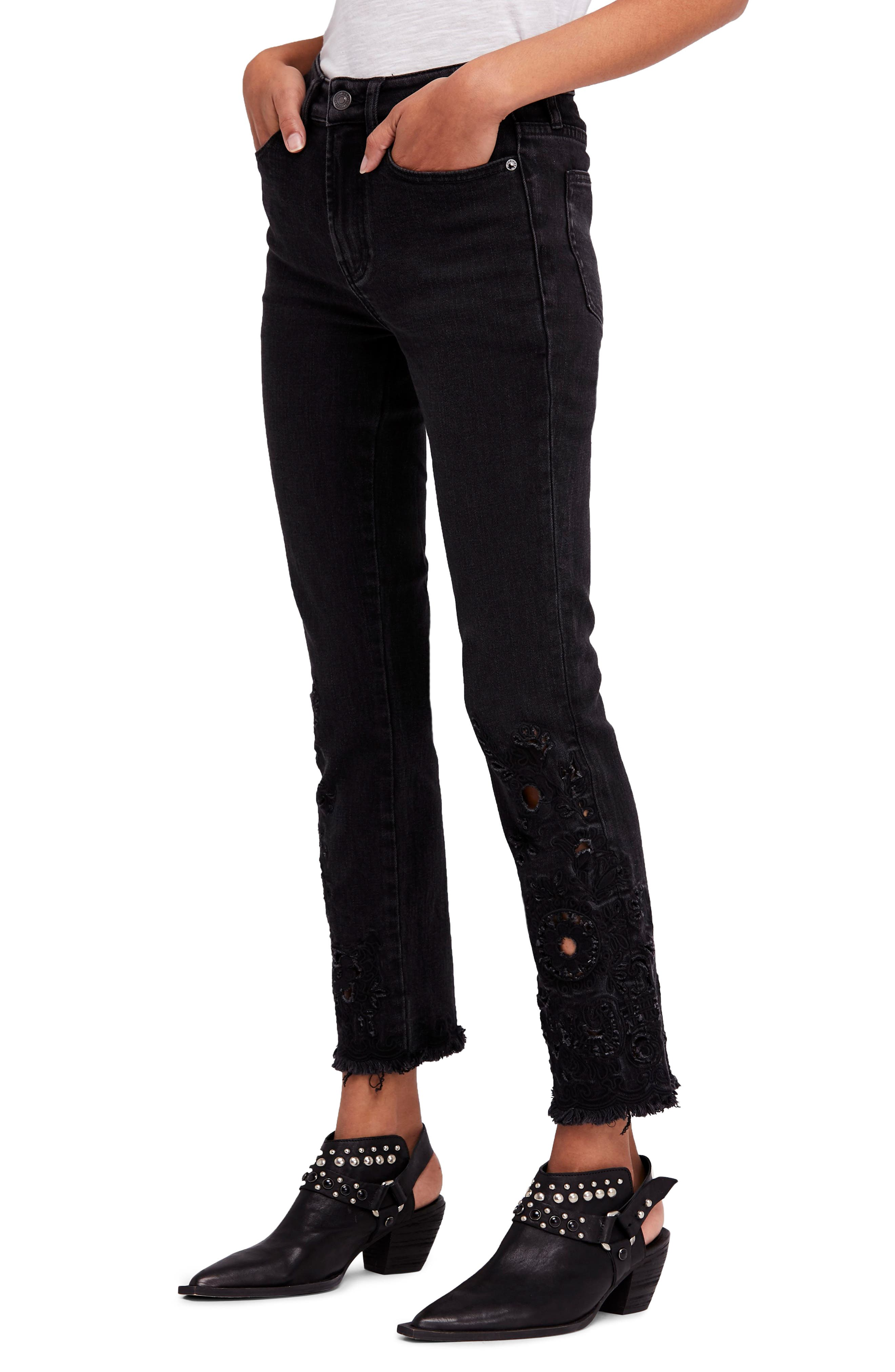 Cutwork Cigarette Jeans,                             Main thumbnail 1, color,                             Black