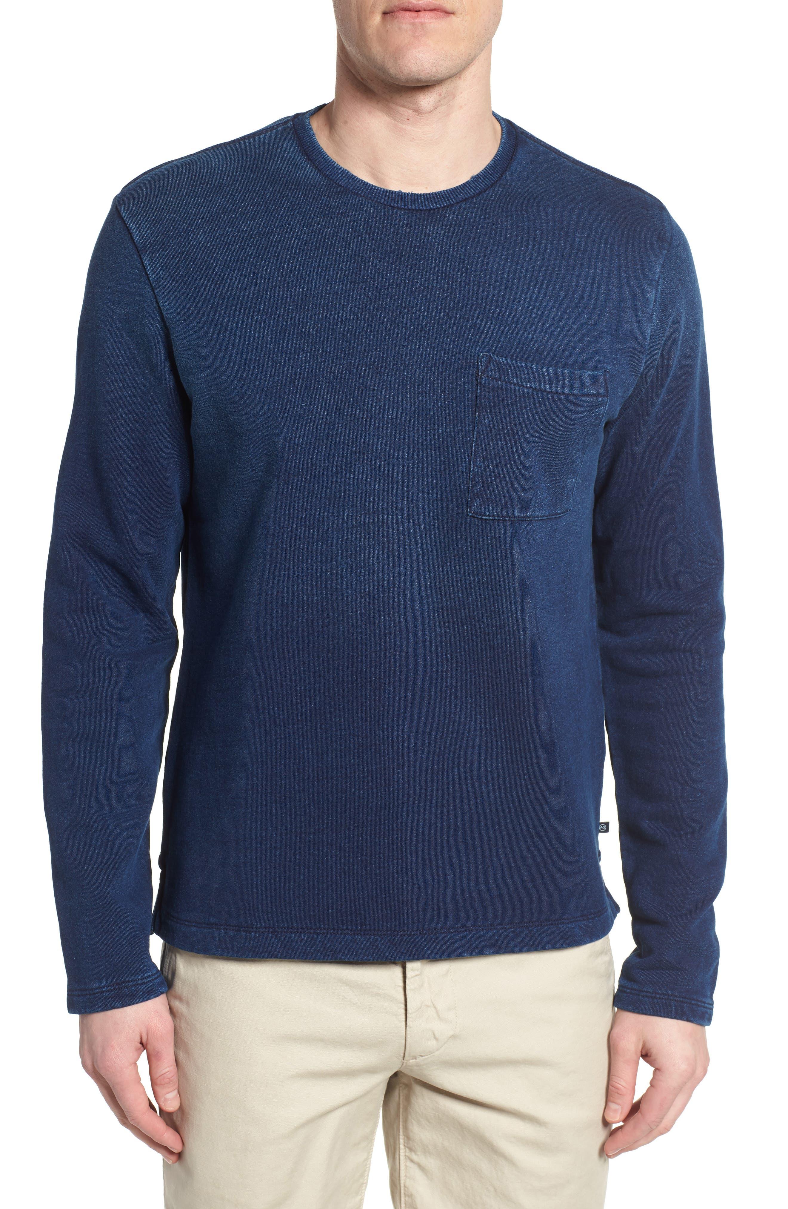 Byron Crewneck Cotton Pocket Sweatshirt,                         Main,                         color, Harbor