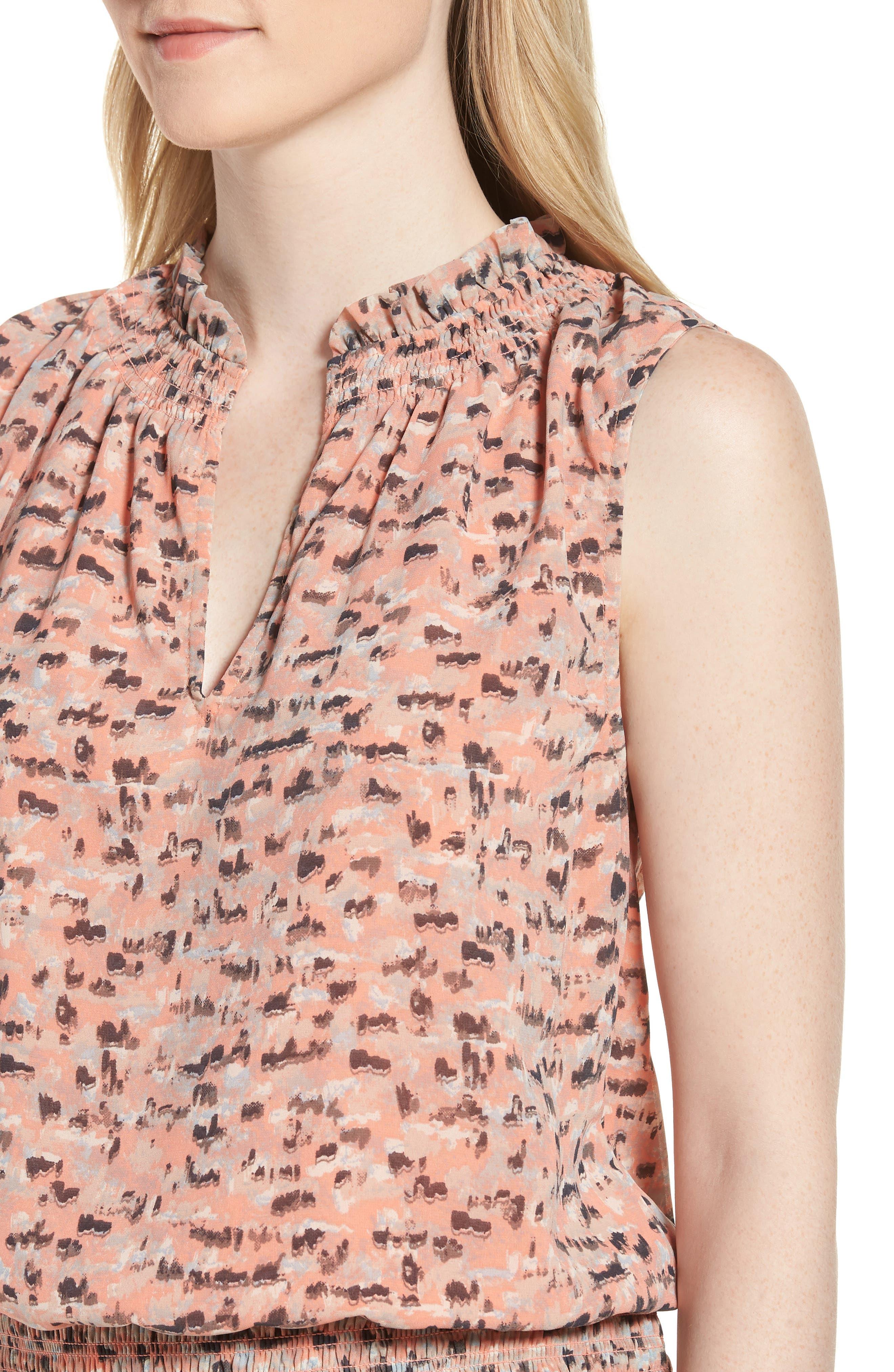 Printed Drop Waist Mini Dress,                             Alternate thumbnail 4, color,                             Pink Multi