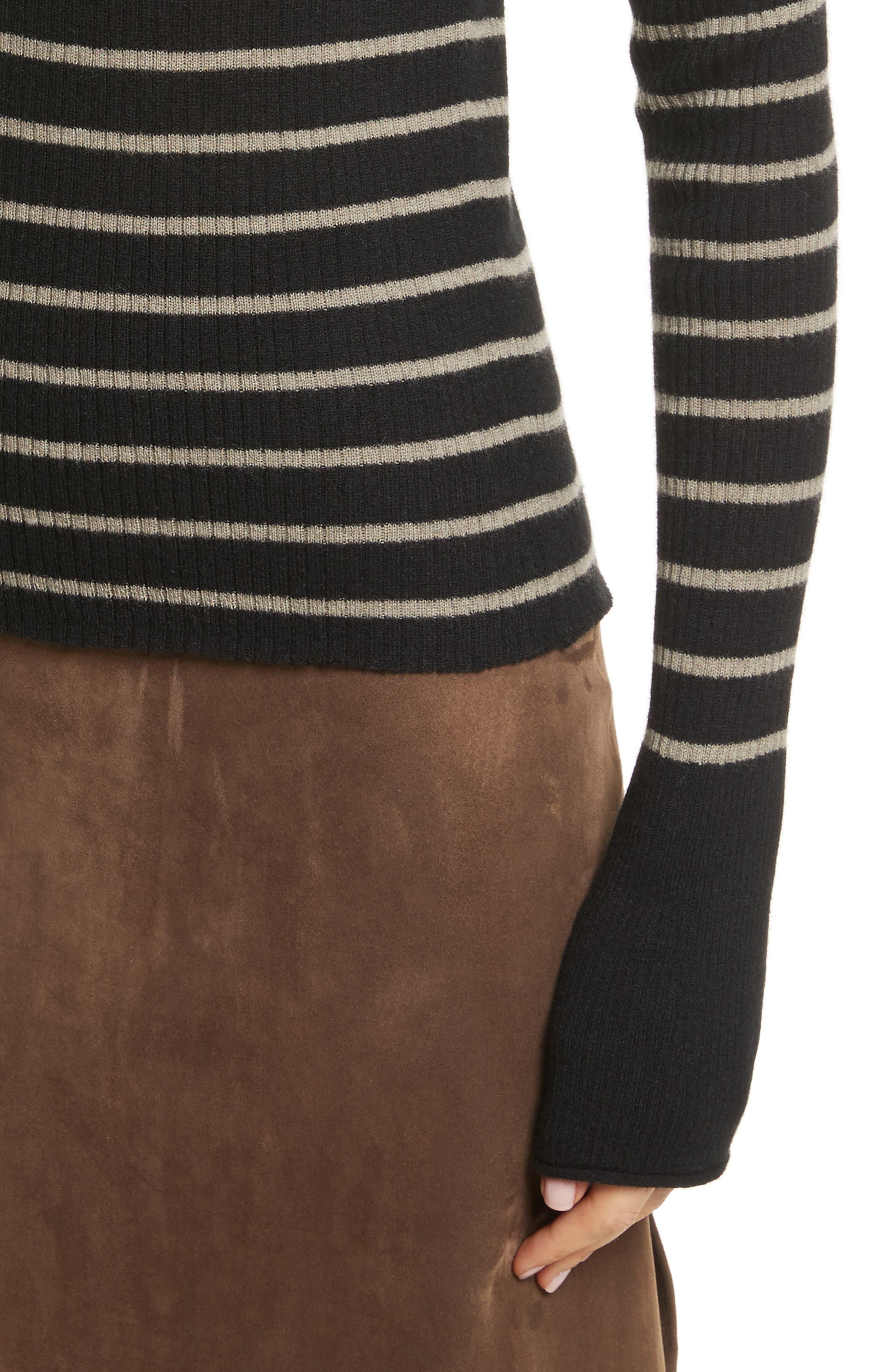 Stripe Ribbed Cashmere Sweater,                             Alternate thumbnail 4, color,                             Black/ Pebble Taupe