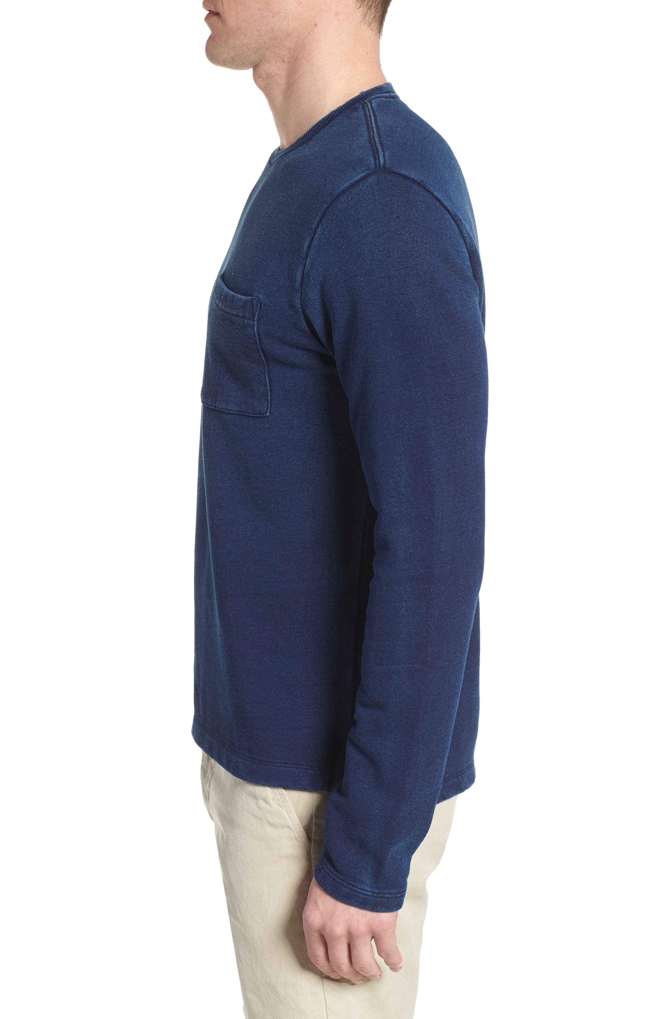 Byron Crewneck Cotton Pocket Sweatshirt,                             Alternate thumbnail 3, color,                             Harbor