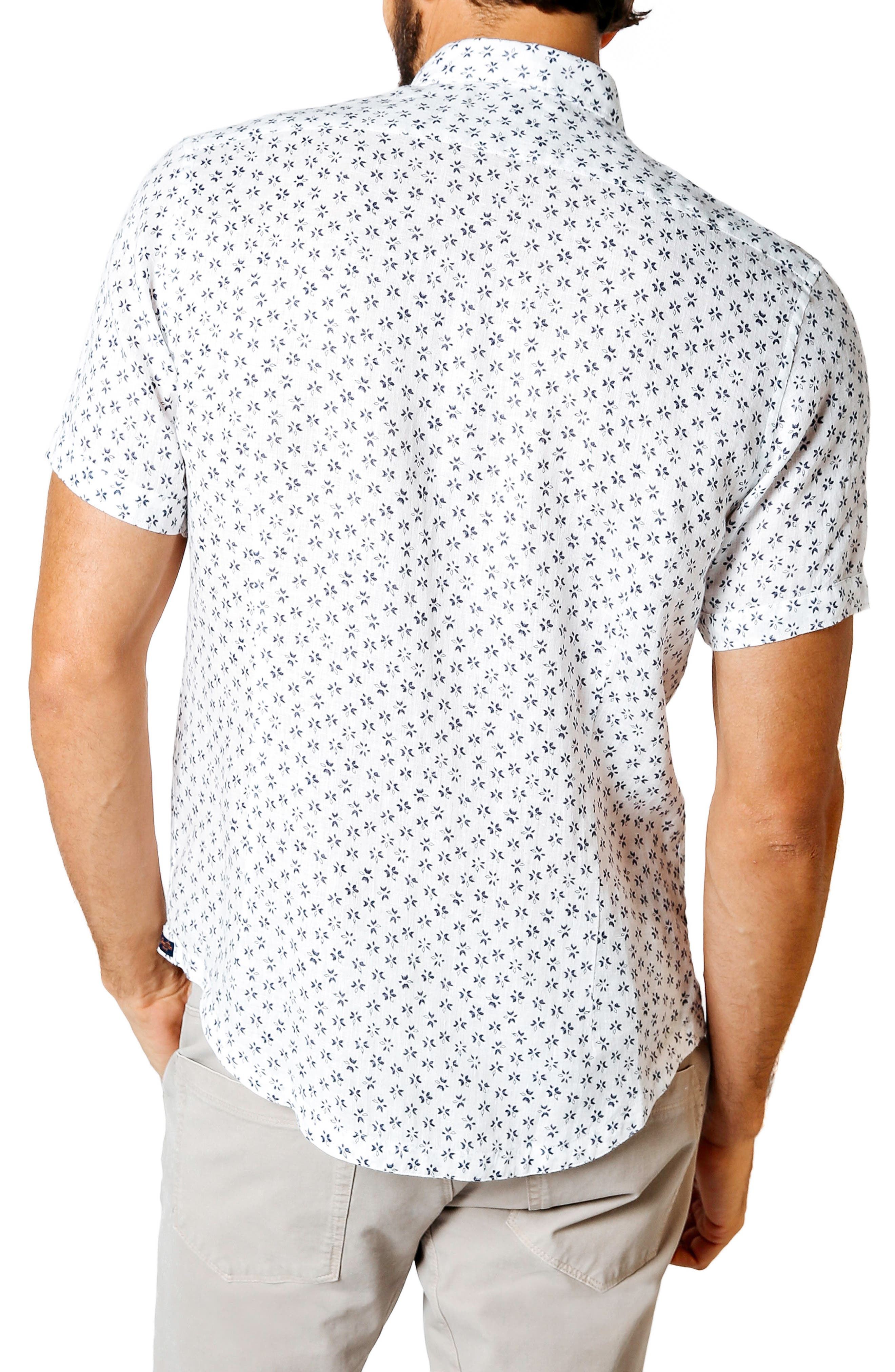 Trim Fit Tea Leaf Print Shirt,                             Alternate thumbnail 2, color,                             White