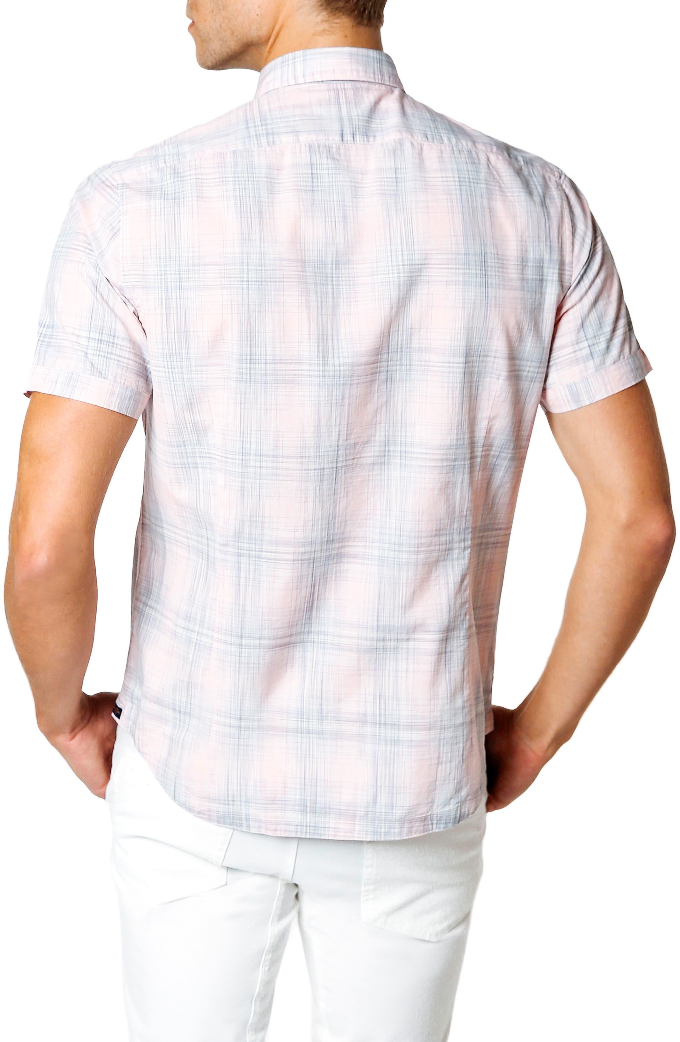Trim Fit Short Sleeve Sport Shirt,                             Alternate thumbnail 2, color,                             Pink
