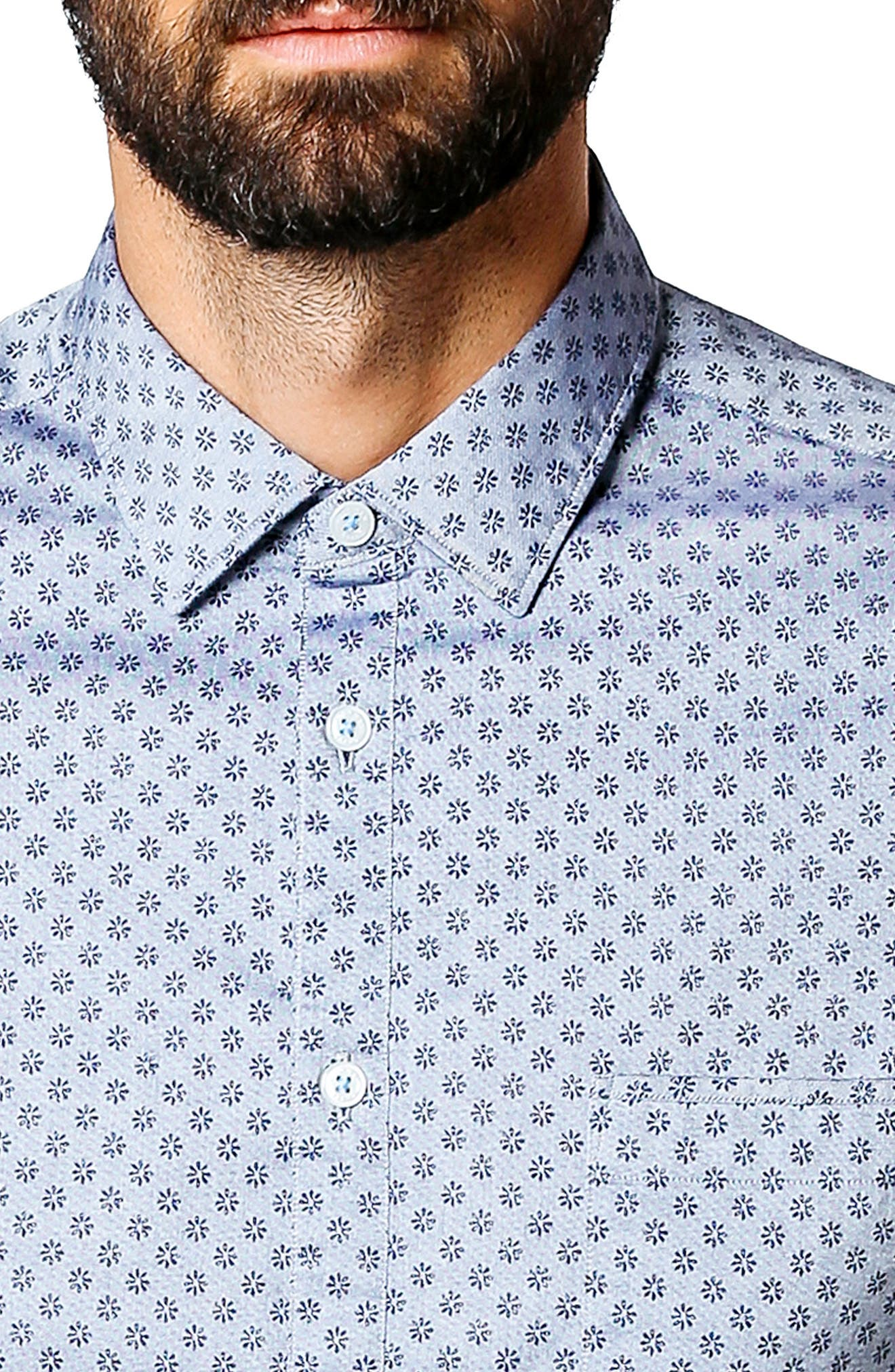Trim Fit Micro Floral Sport Shirt,                             Alternate thumbnail 4, color,                             Indigo