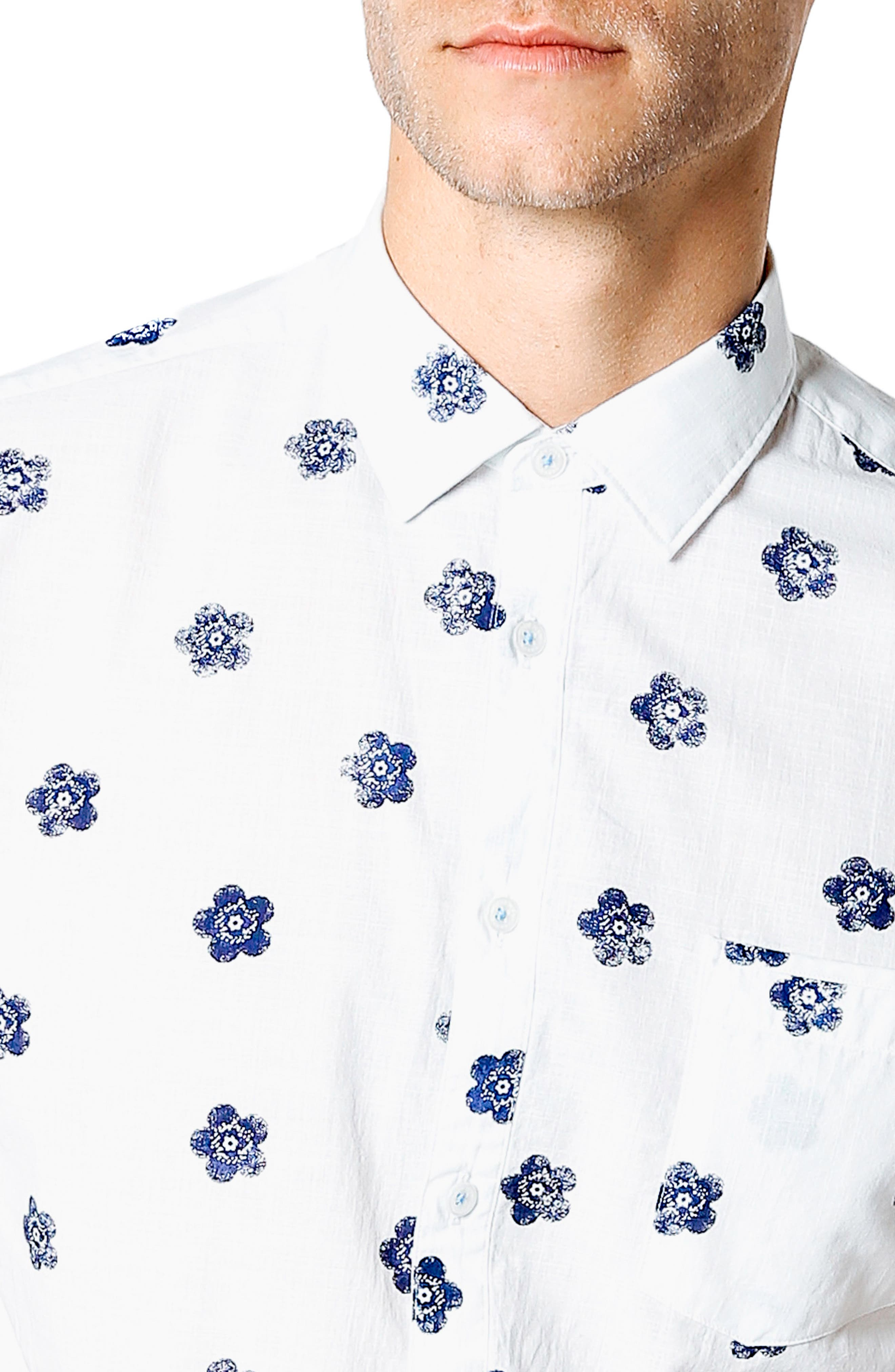 Trim Fit Tokyo Flower Sport Shirt,                             Alternate thumbnail 2, color,                             Indigo