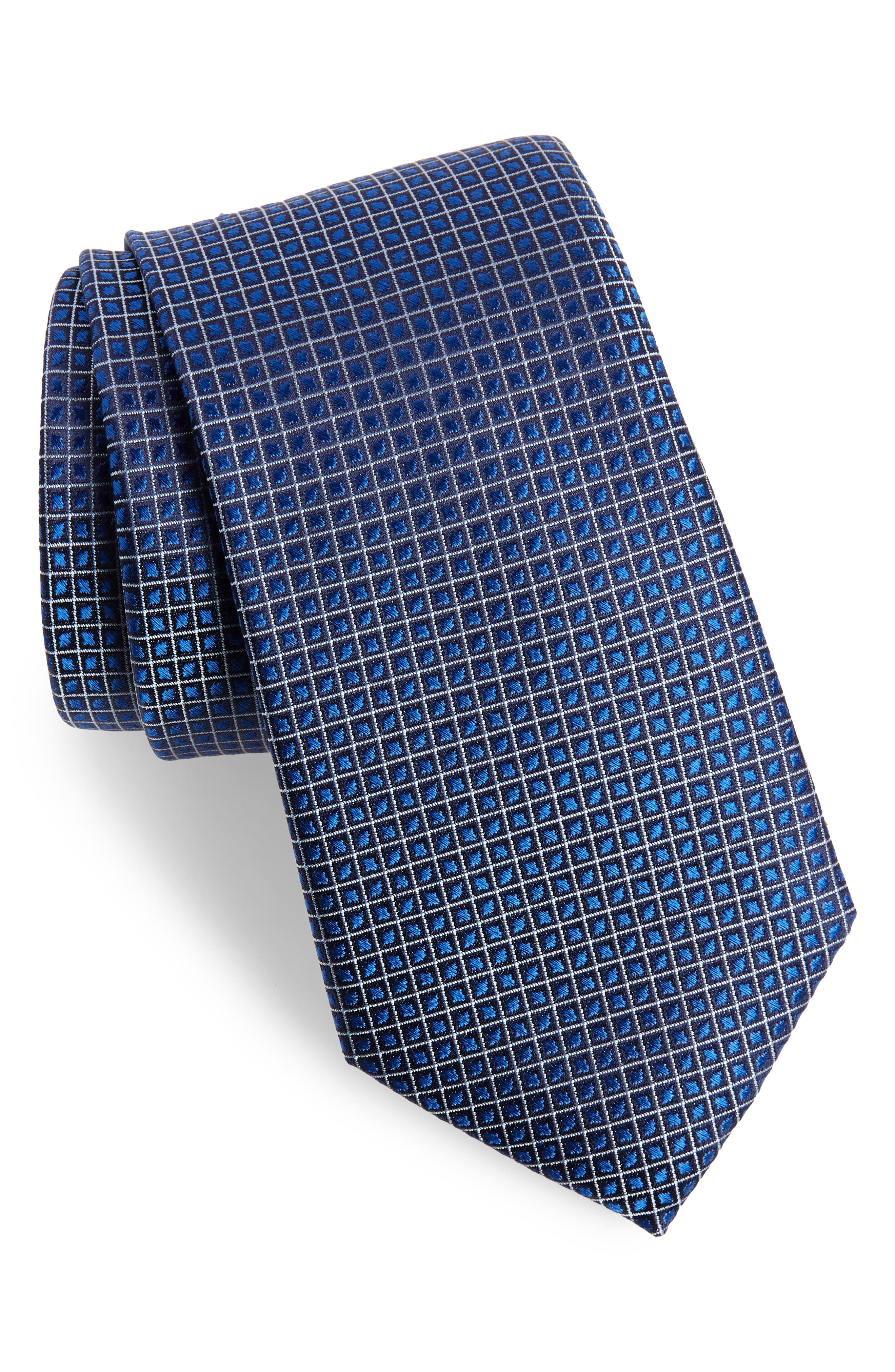 Jallot Check Silk Tie,                             Main thumbnail 1, color,                             Navy