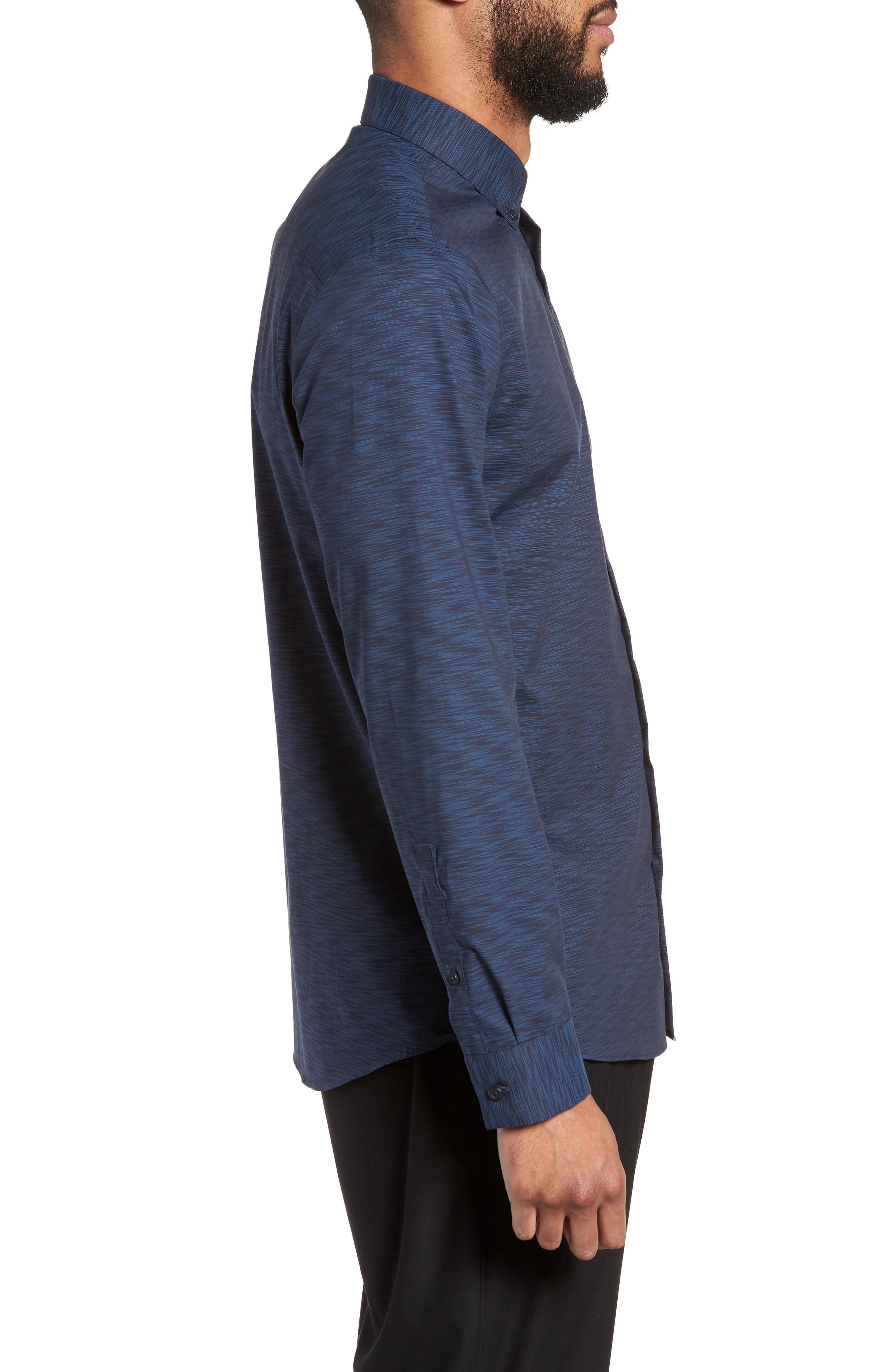 Trim Fit Solid Sport Shirt,                             Alternate thumbnail 3, color,                             Navy Blue Space Dye