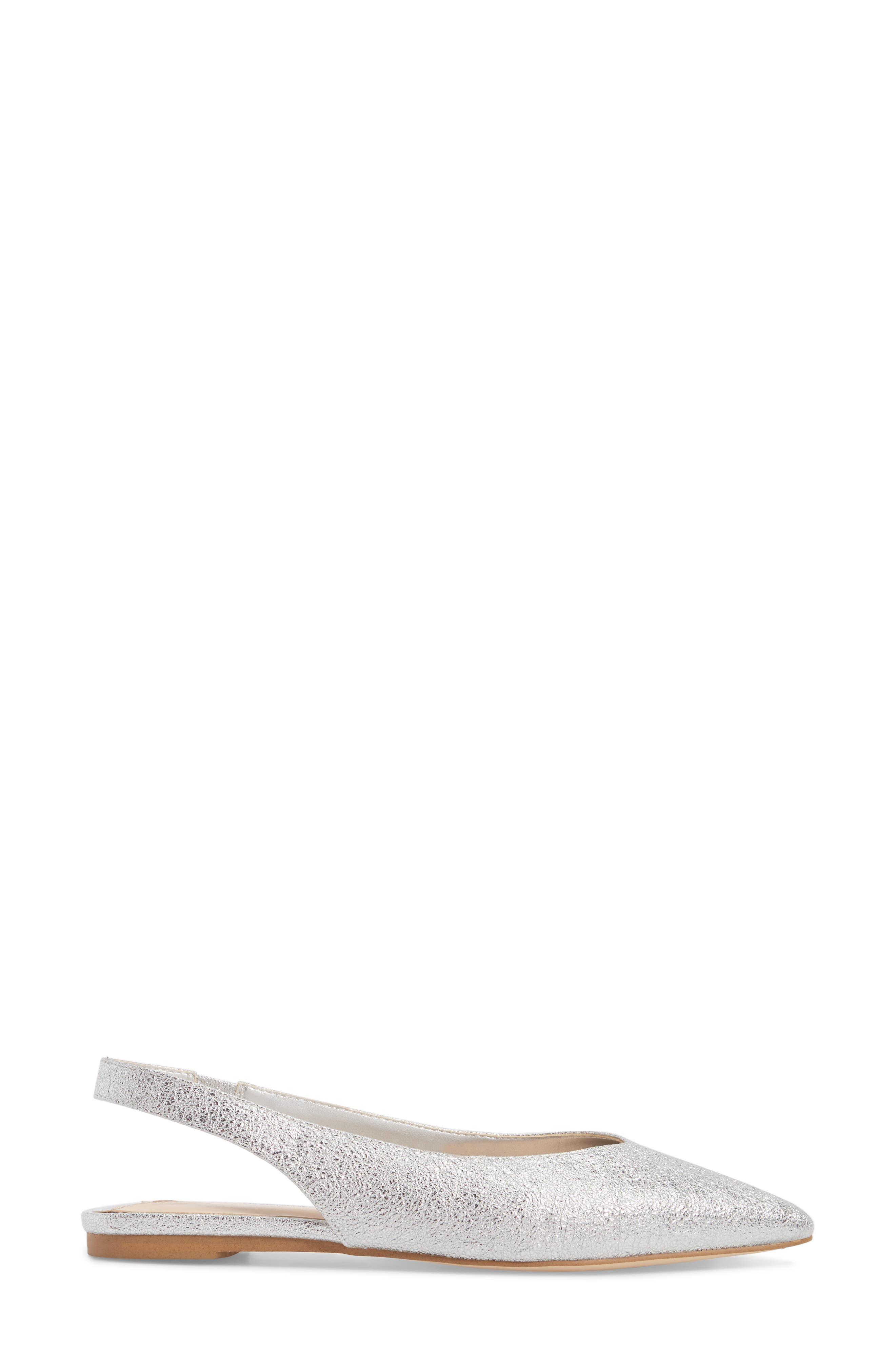 Masonn Slingback Flat,                             Alternate thumbnail 3, color,                             Silver Crackle Faux Leather