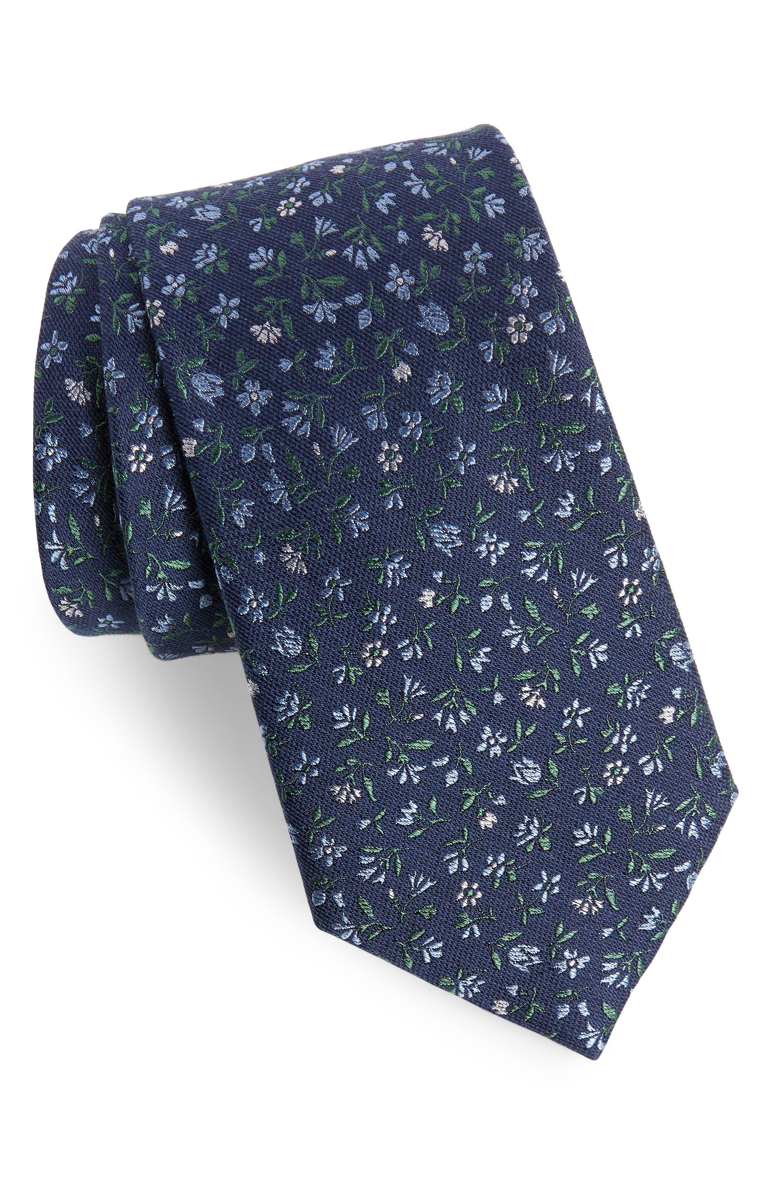 Flower Fields Silk & Cotton Tie,                             Main thumbnail 1, color,                             Navy