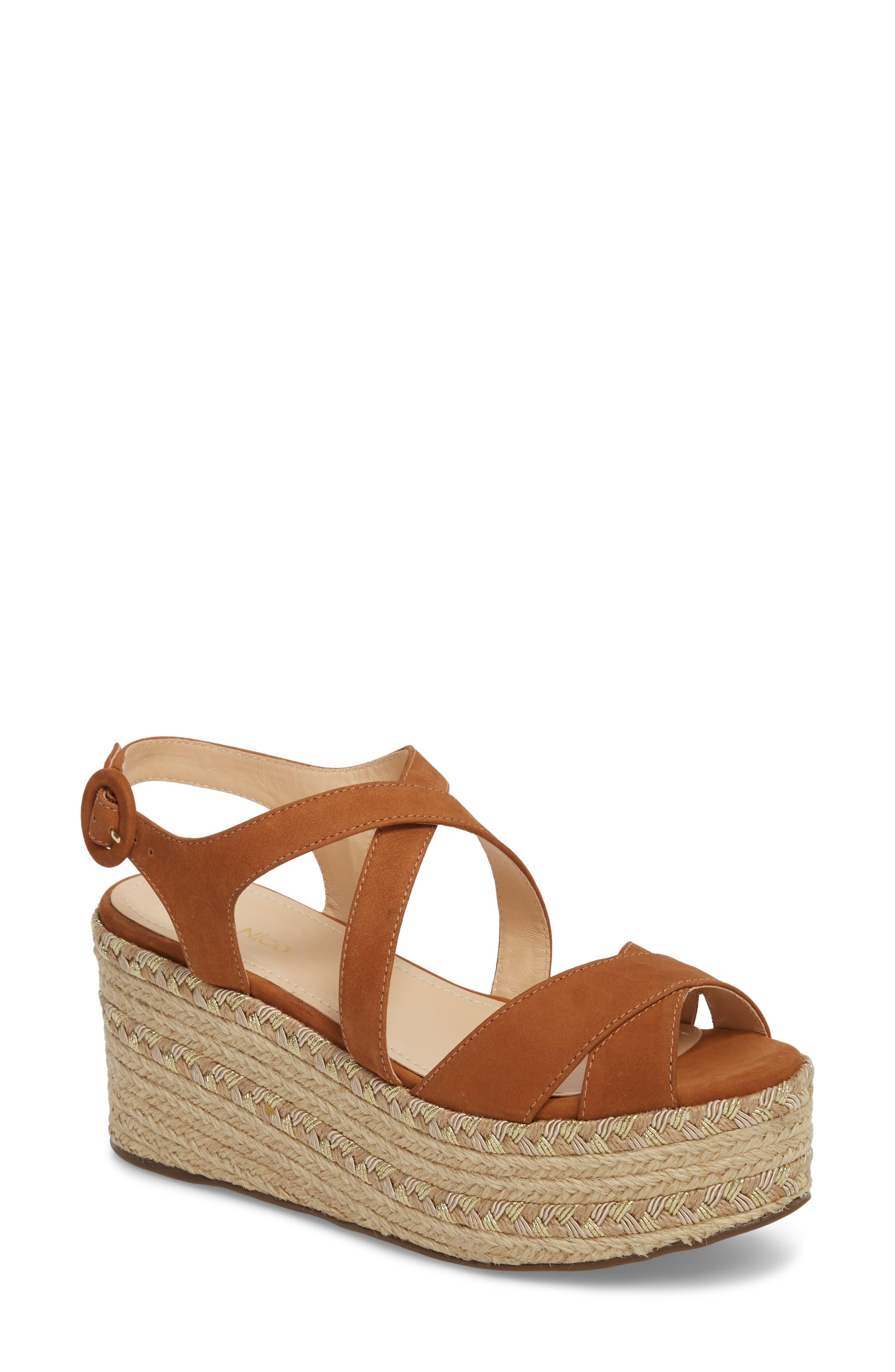 Vikki Espadrille Platform Sandal,                             Main thumbnail 1, color,                             Tan Leather