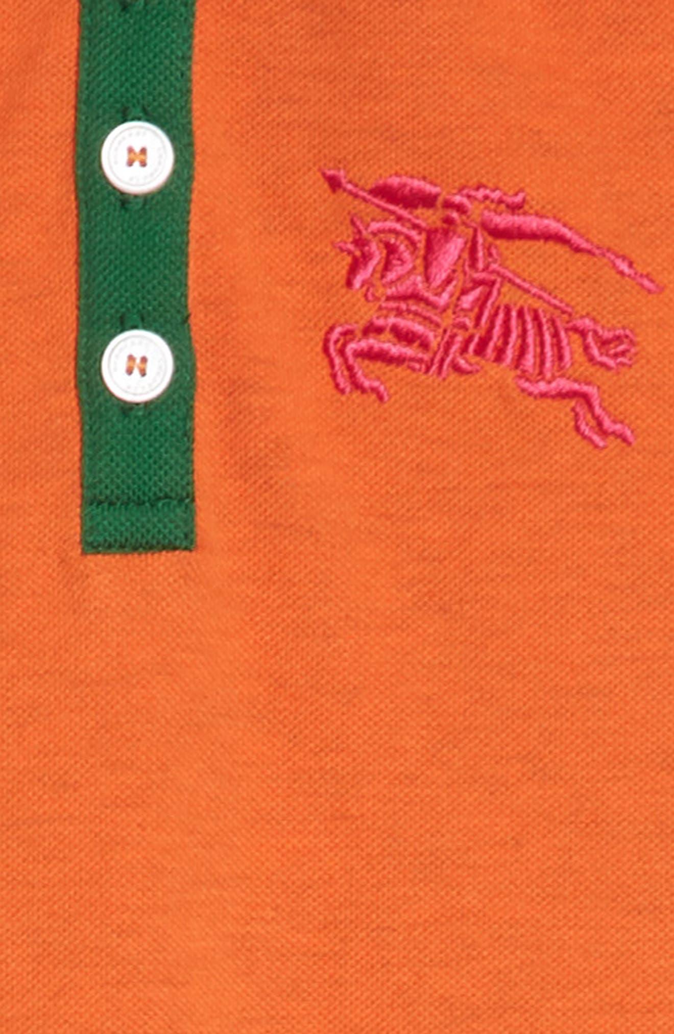 Burbery Cali Polo Dress,                             Alternate thumbnail 3, color,                             Brt Clementine Mel