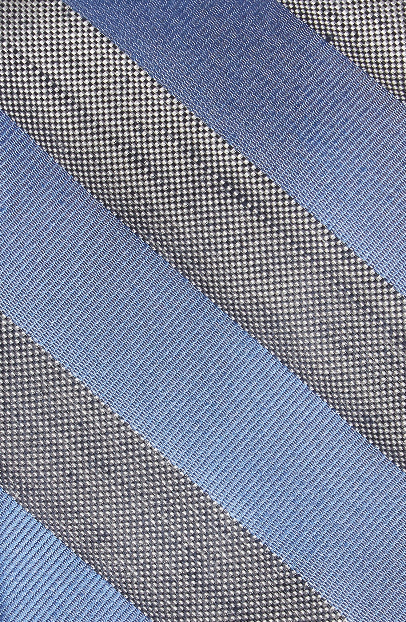 Bomer Stripe Silk & Linen Tie,                             Alternate thumbnail 2, color,                             Blue