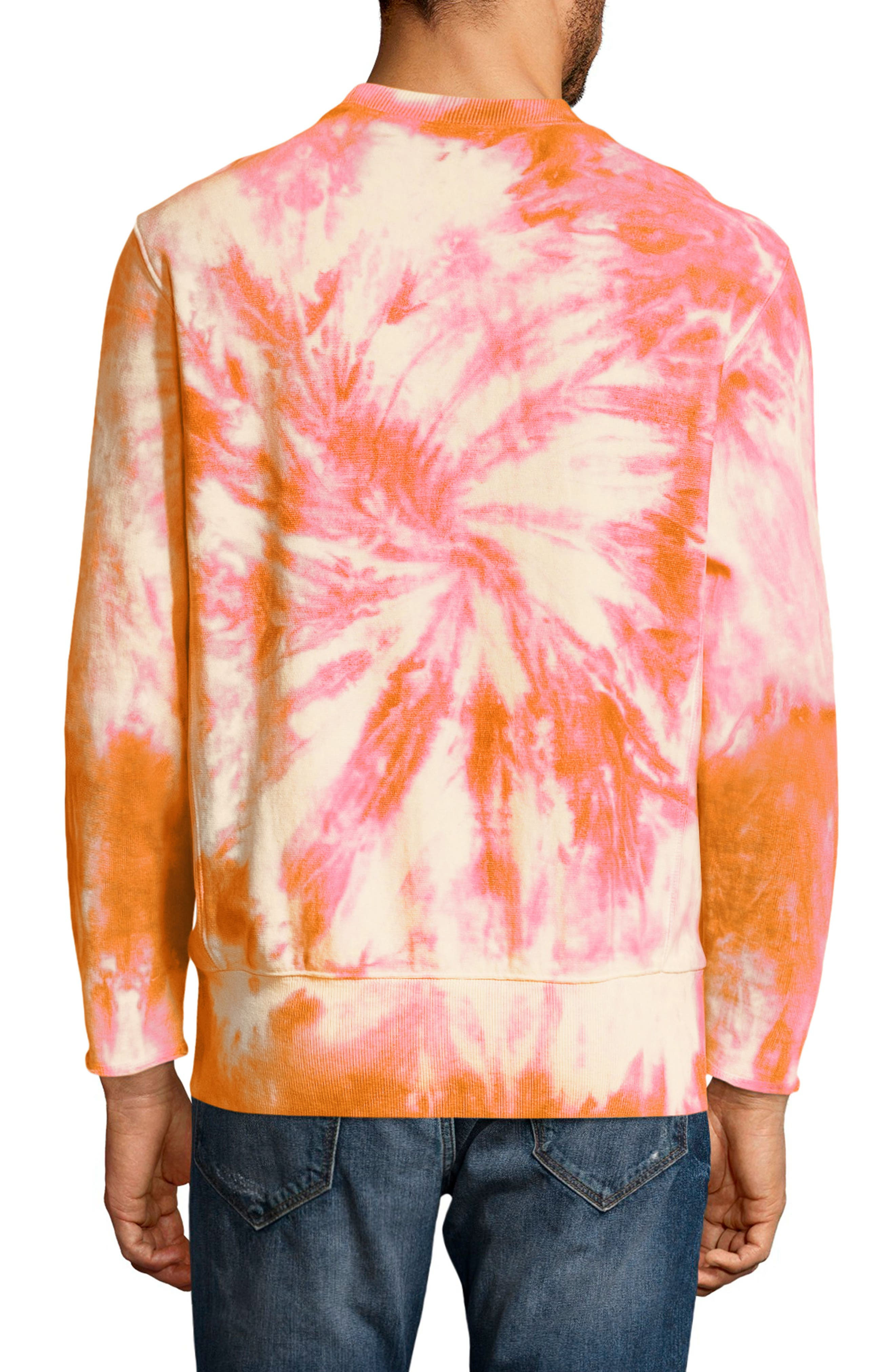 Reverse Weave Tie Dye T-Shirt,                             Alternate thumbnail 2, color,                             Glazed Orange