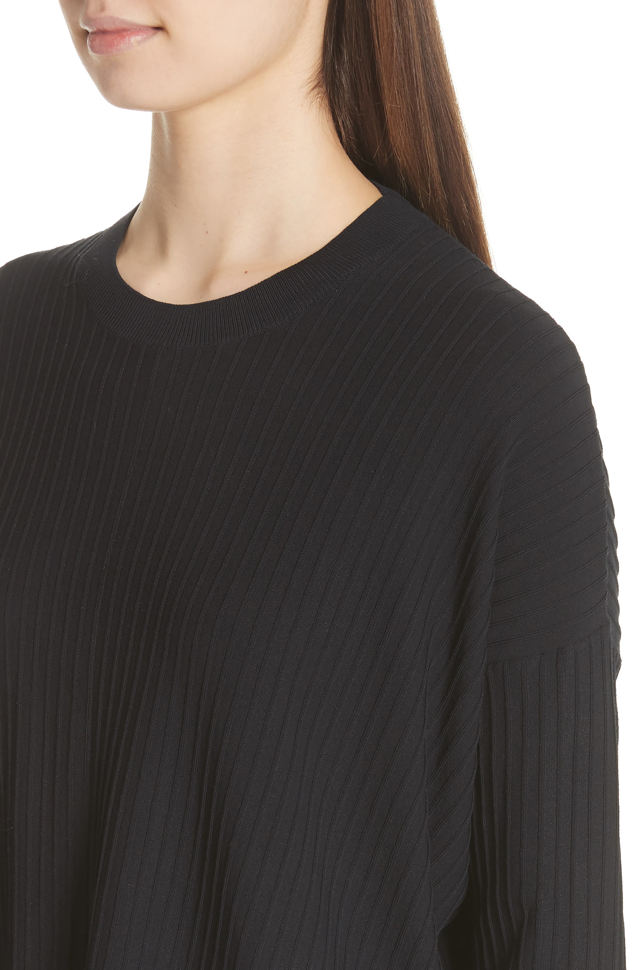Issy Ribbed Sweater,                             Alternate thumbnail 4, color,                             Black