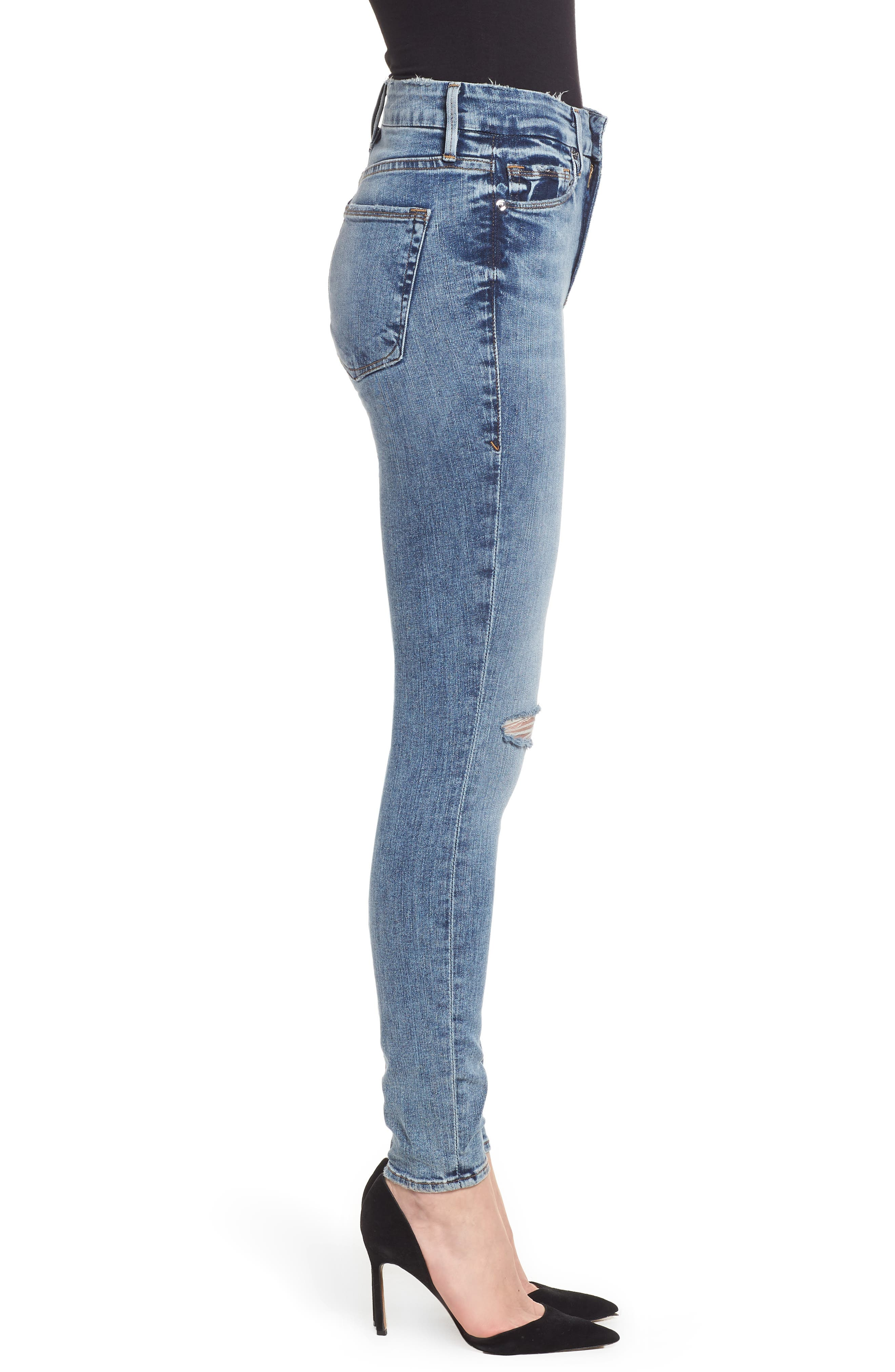 Good Legs Ripped High Waist Skinny Jeans,                             Alternate thumbnail 3, color,                             Blue129