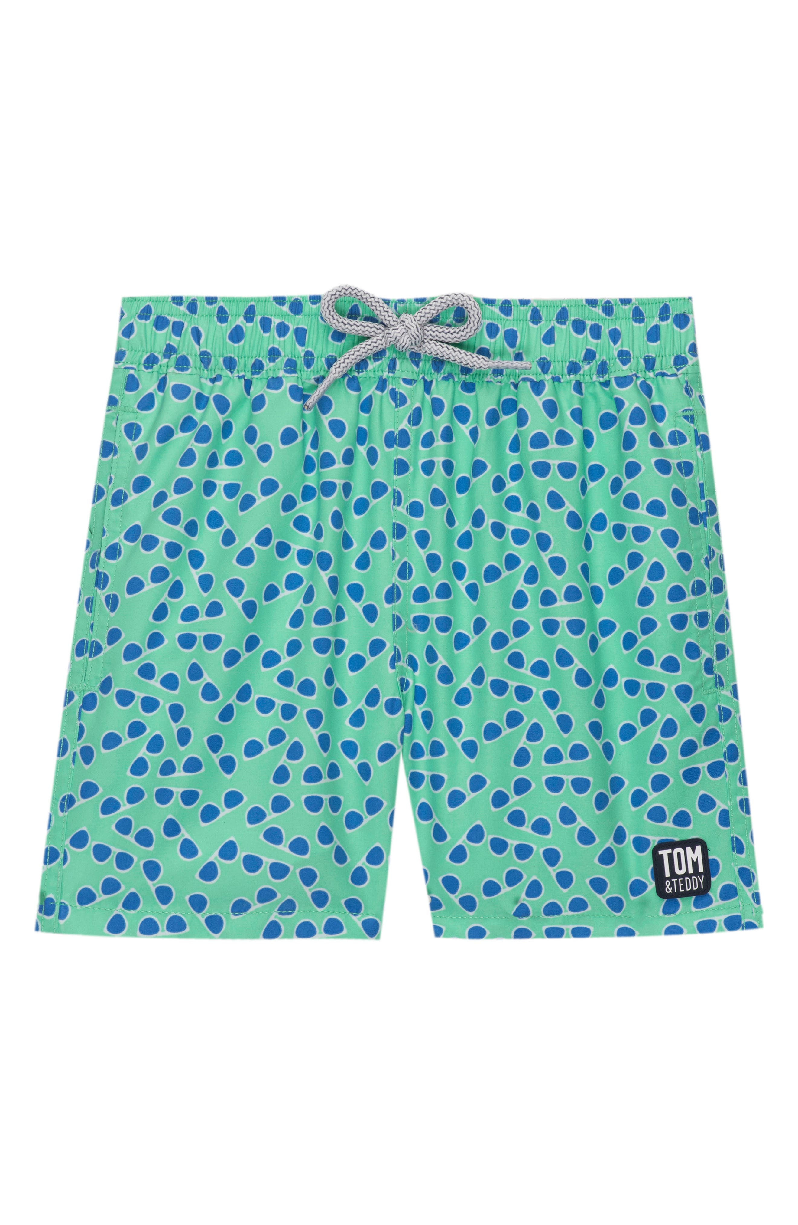Tom & Teddy Sunglasses Print Swim Trunks (Toddler Boys, Little Boys & Big Boys)