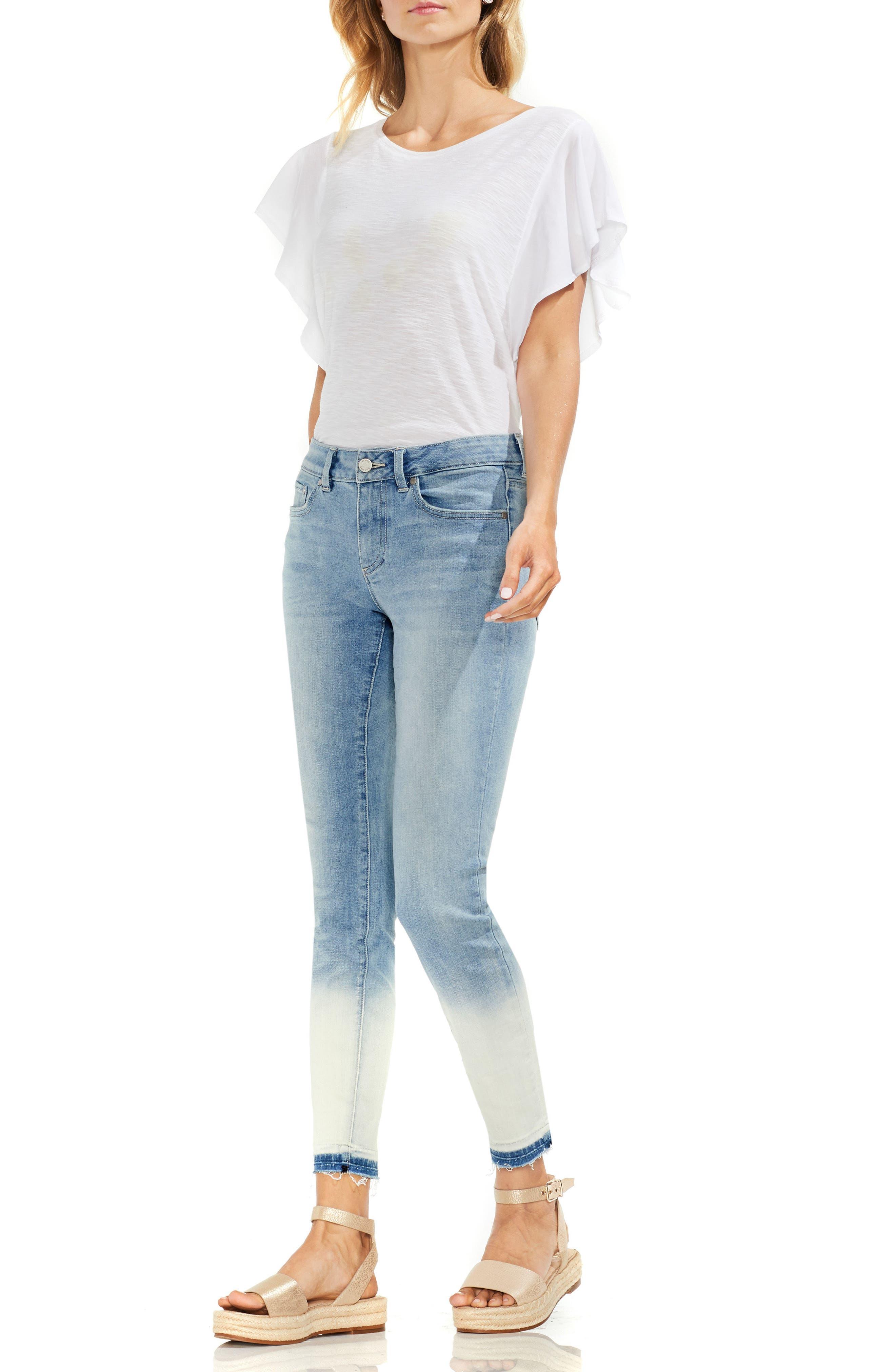 Ombré Release Hem Skinny Ankle Jeans,                             Alternate thumbnail 3, color,                             Sun Wash Blue