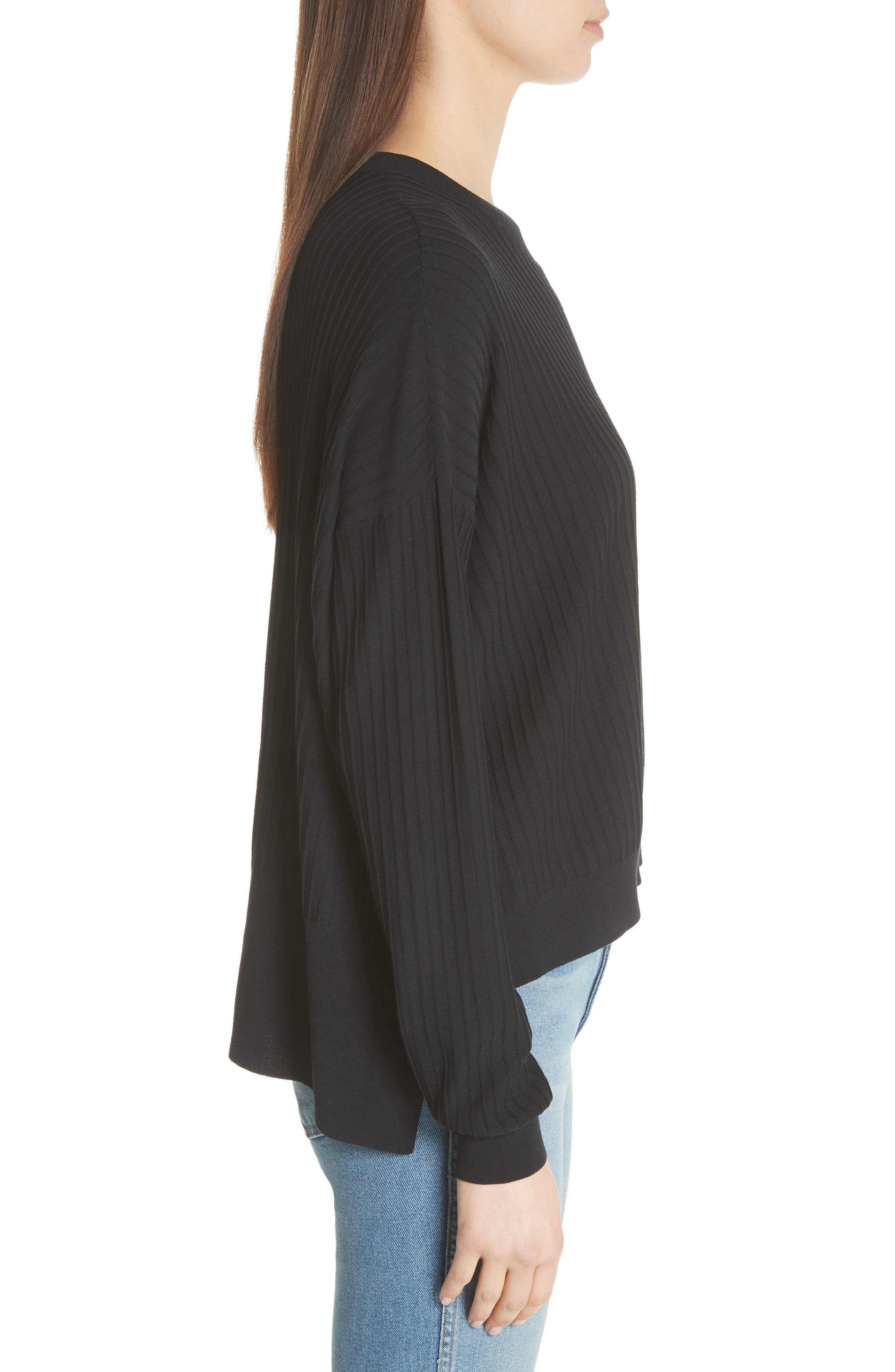 Issy Ribbed Sweater,                             Alternate thumbnail 3, color,                             Black