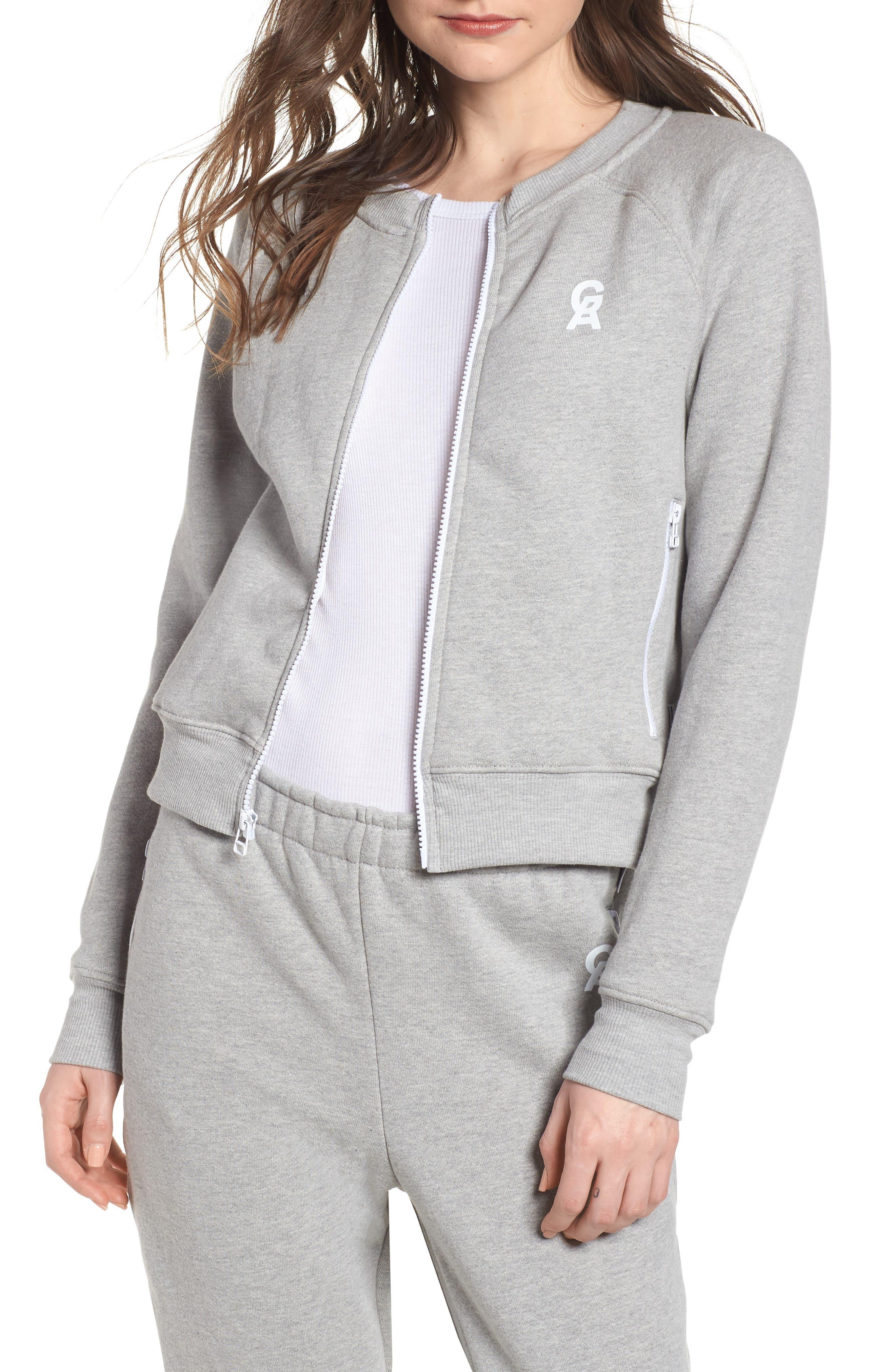 Crop Zip Sweatshirt,                         Main,                         color, Heather Grey