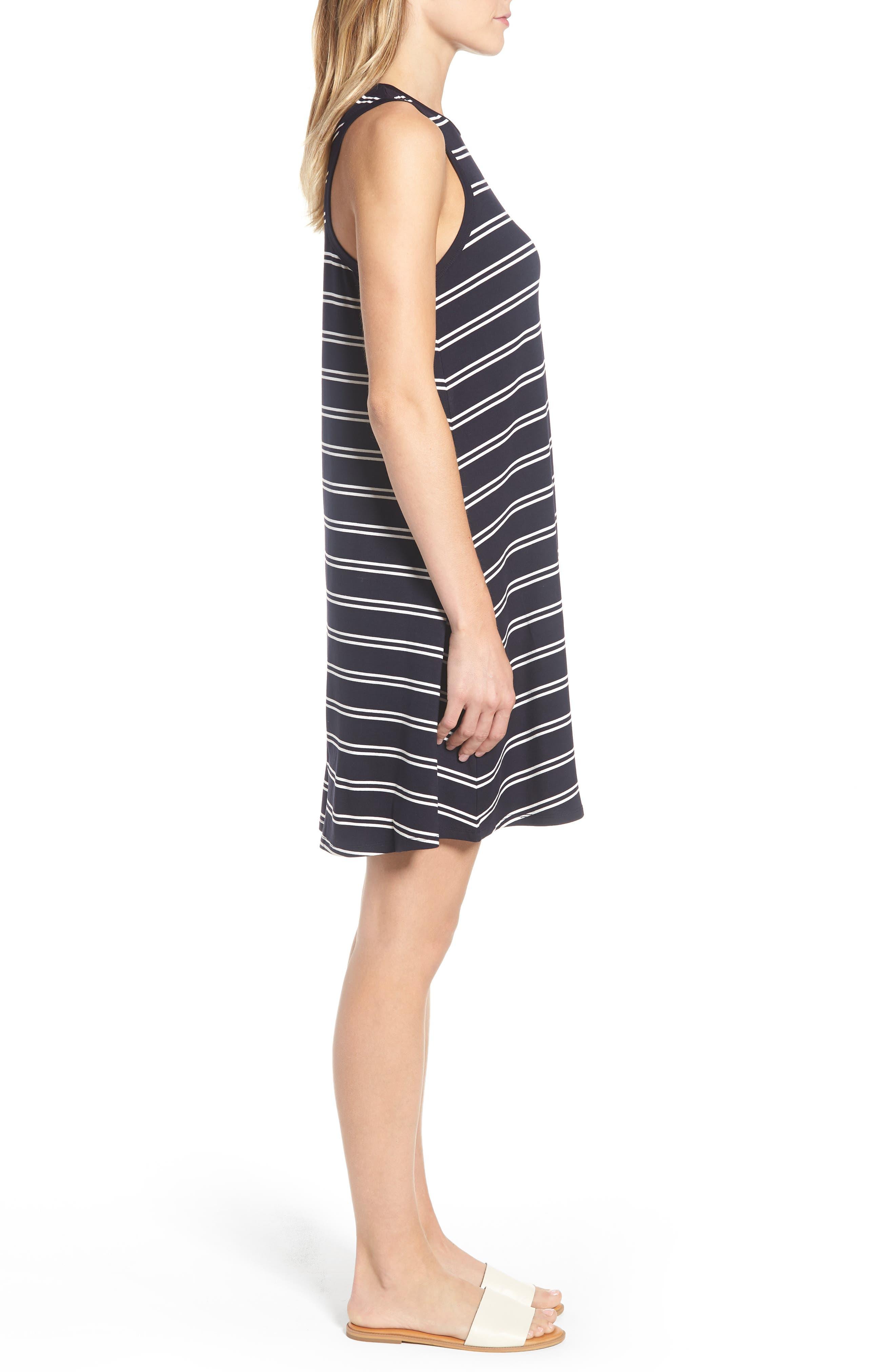Stripe Tank Dress,                             Alternate thumbnail 3, color,                             Deepest Navy White