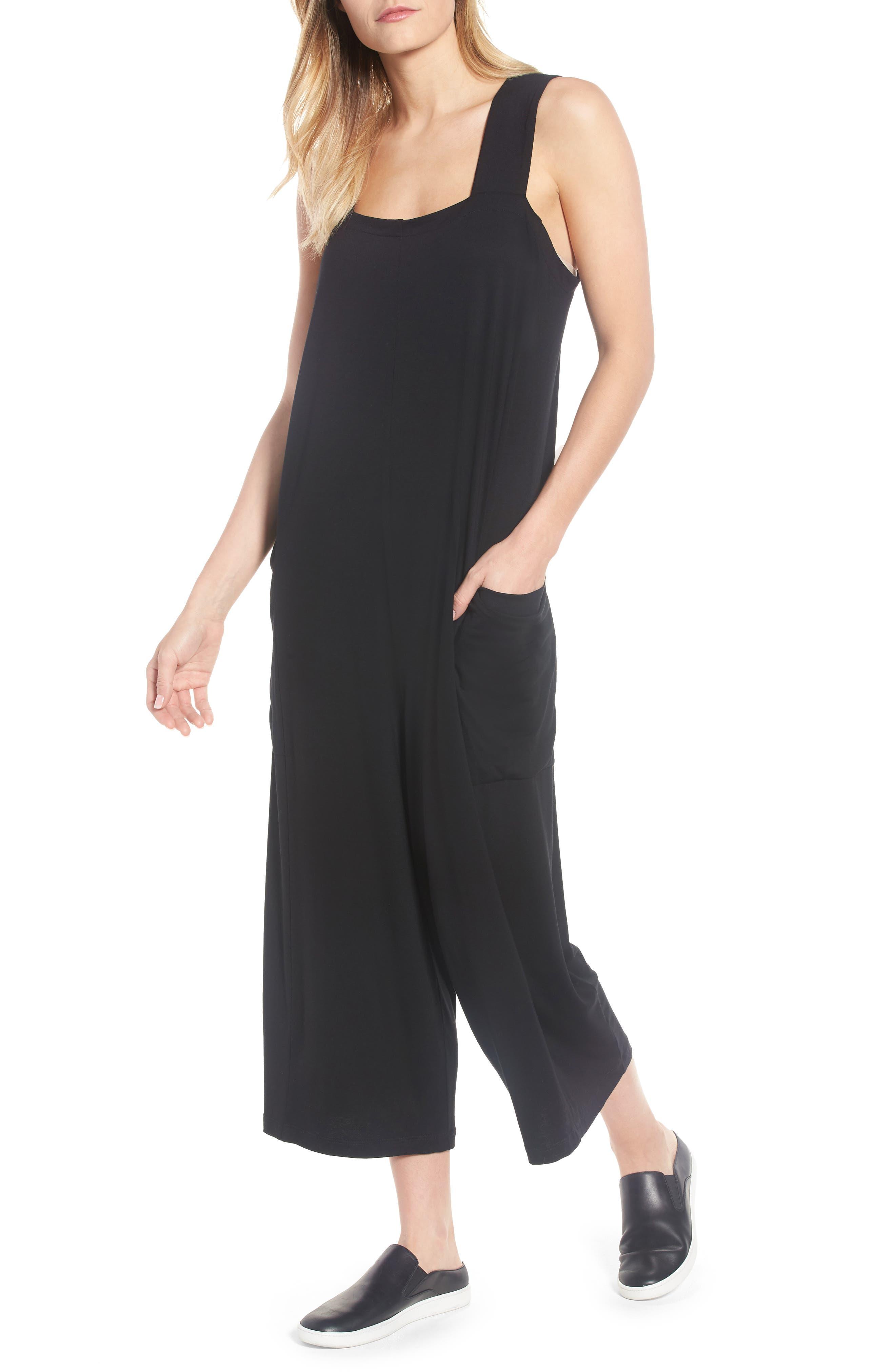 Crop Jersey Jumpsuit,                             Main thumbnail 1, color,                             Black