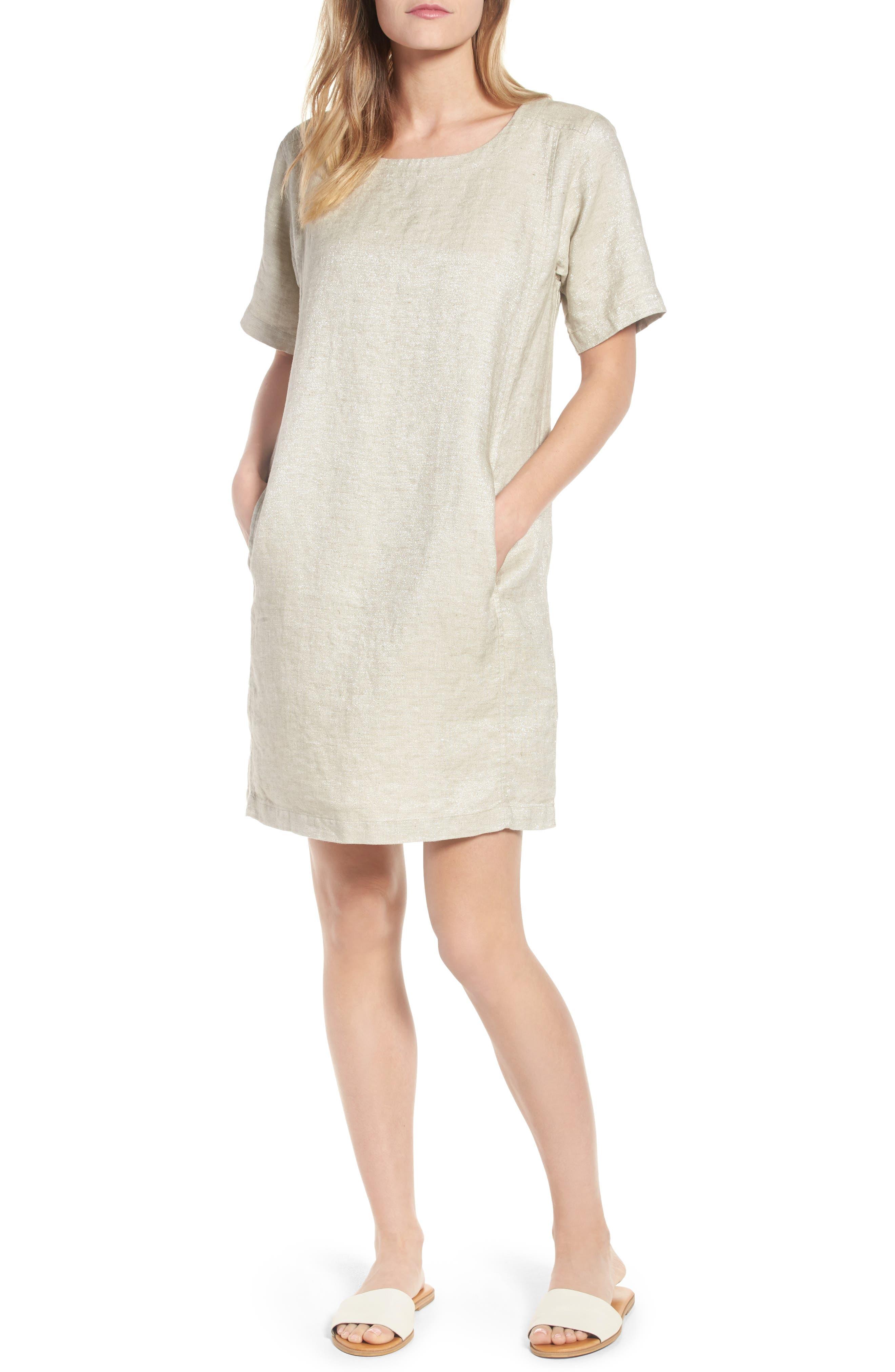Scoop Neck Linen Blend Dress,                         Main,                         color, Natural