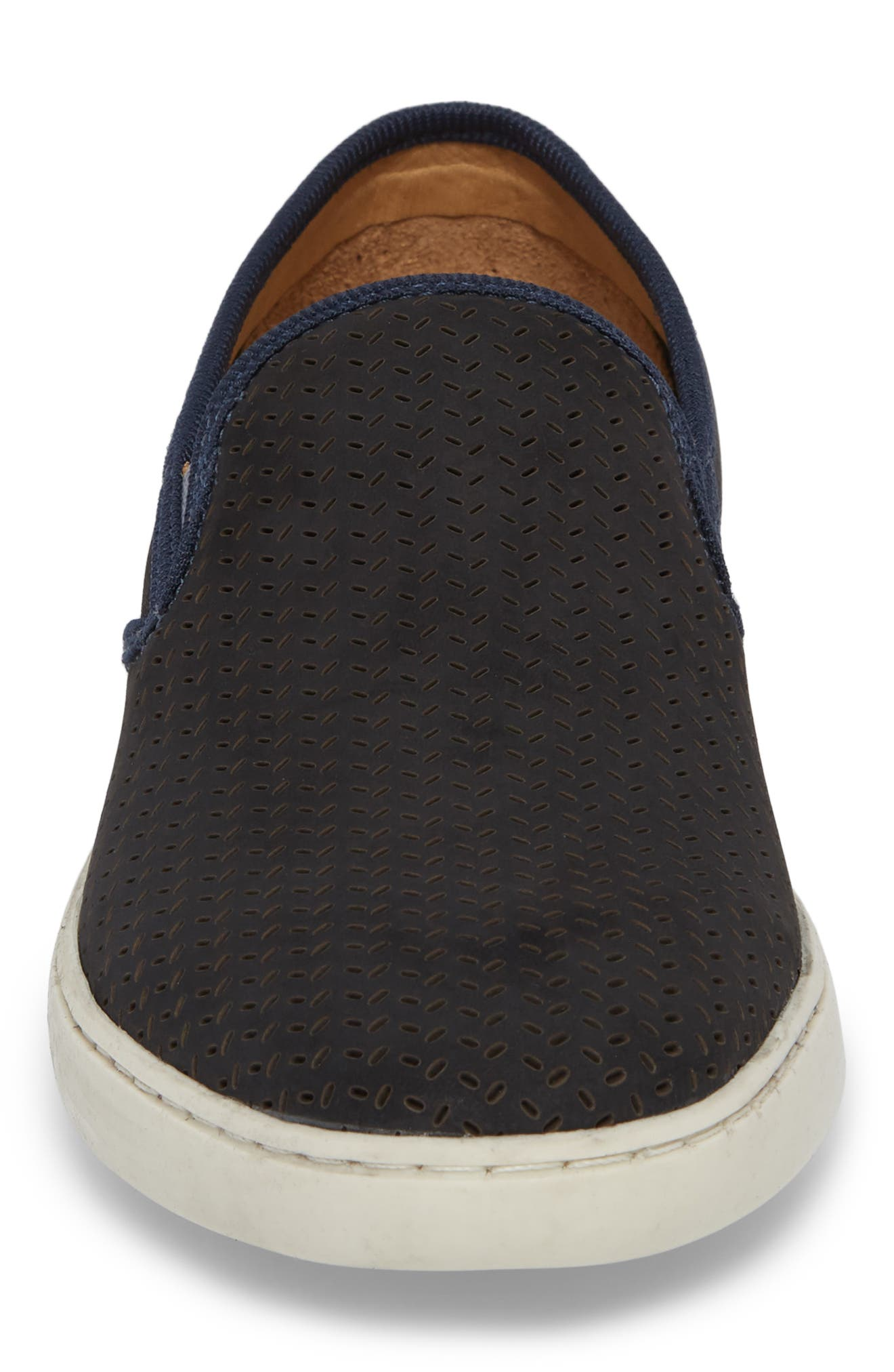 Malibu Perforated Loafer,                             Alternate thumbnail 4, color,                             Navy Nubuck