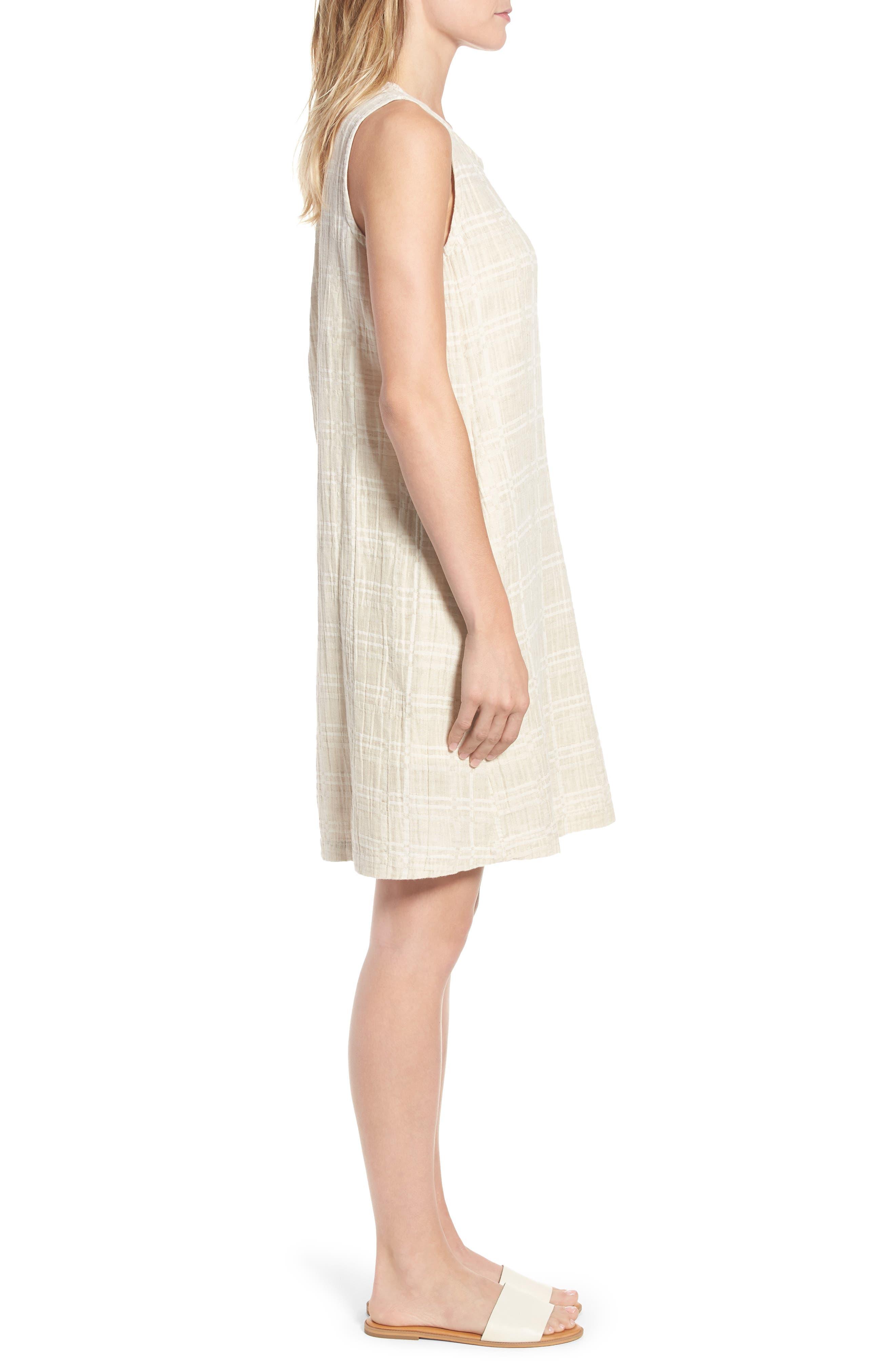 Organic Cotton & Linen Shift Dress,                             Alternate thumbnail 3, color,                             Natural