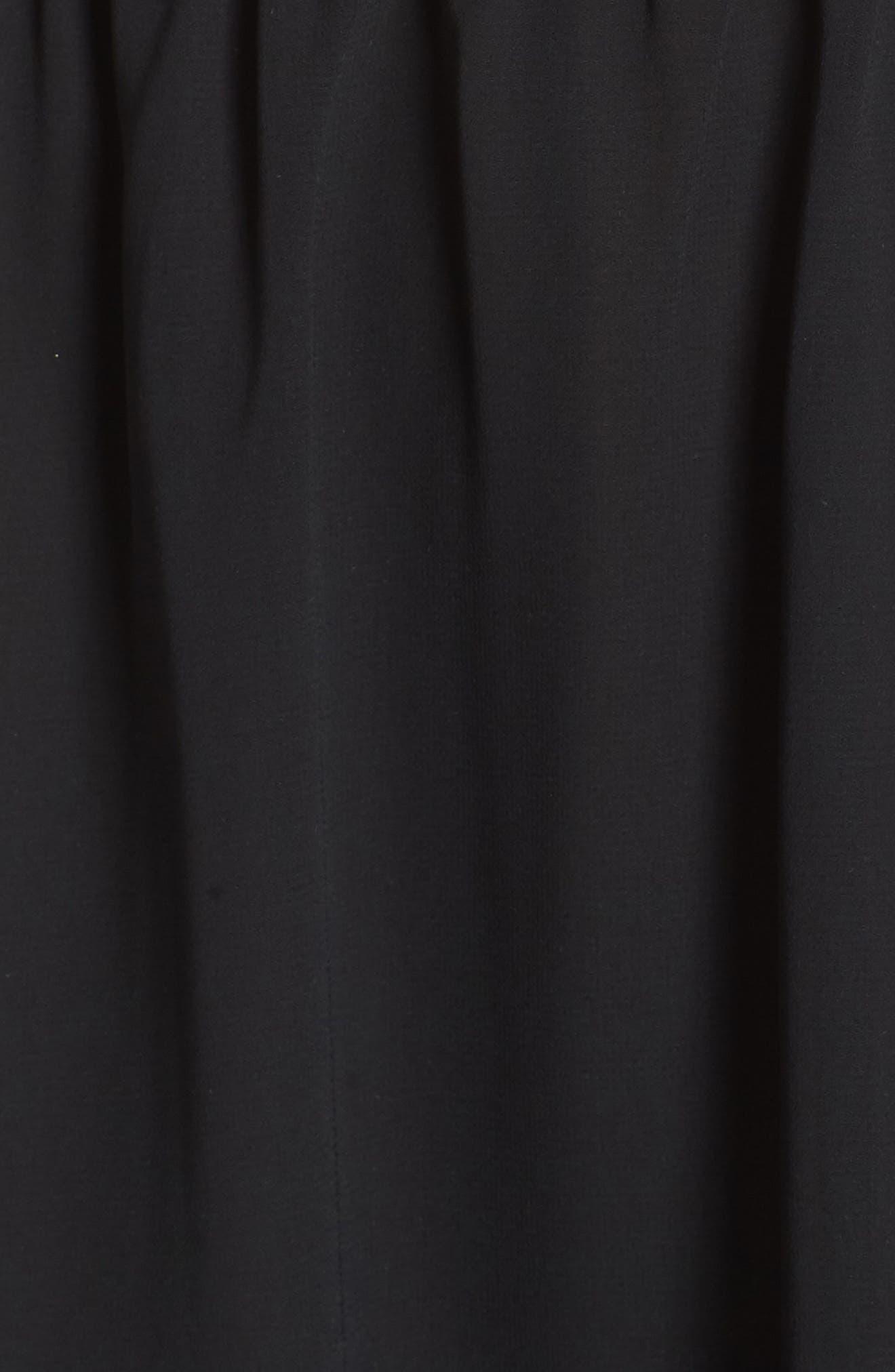 Off The Shoulder Ruffle Hem Dress,                             Alternate thumbnail 6, color,                             Black