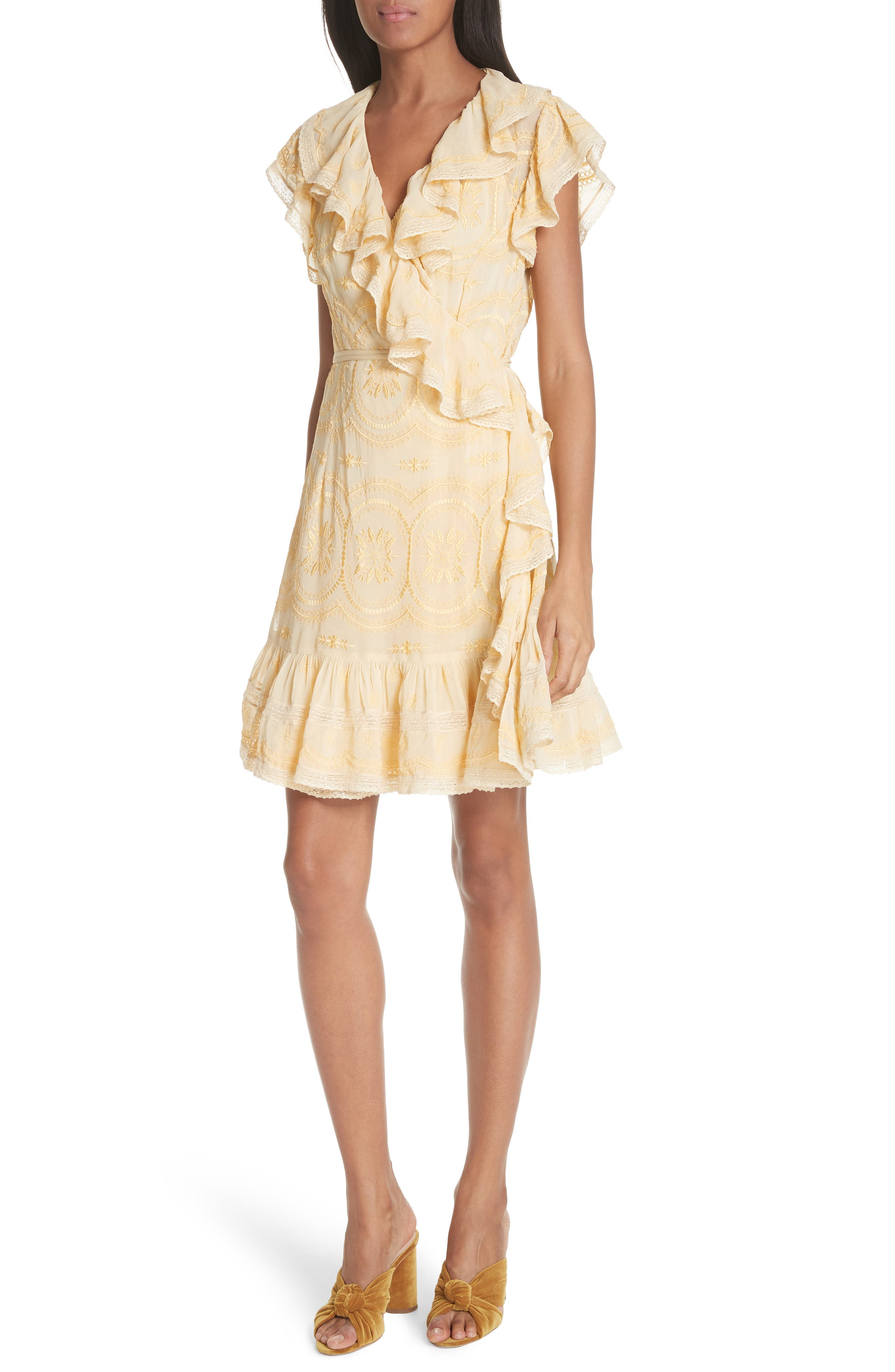 Anglaise Georgette Wrap Dress,                             Main thumbnail 1, color,                             Yellow