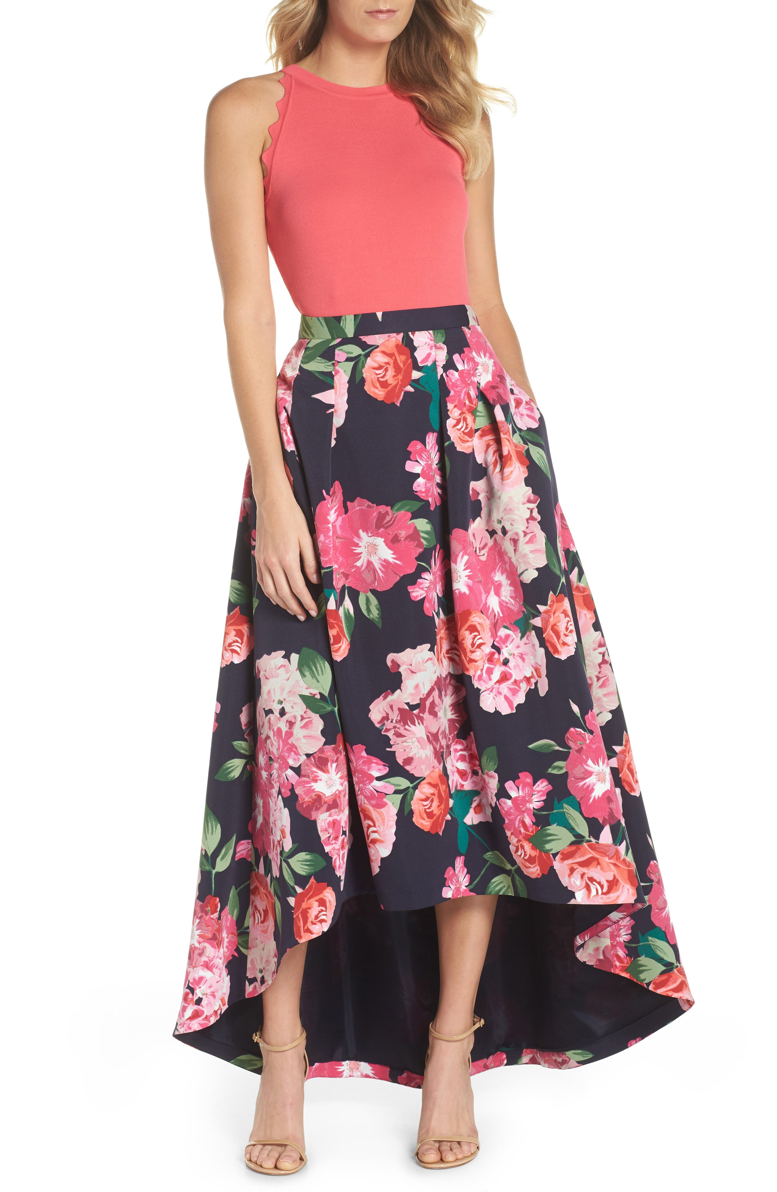 Floral High/Low Skirt,                             Alternate thumbnail 2, color,                             Navy/ Pink