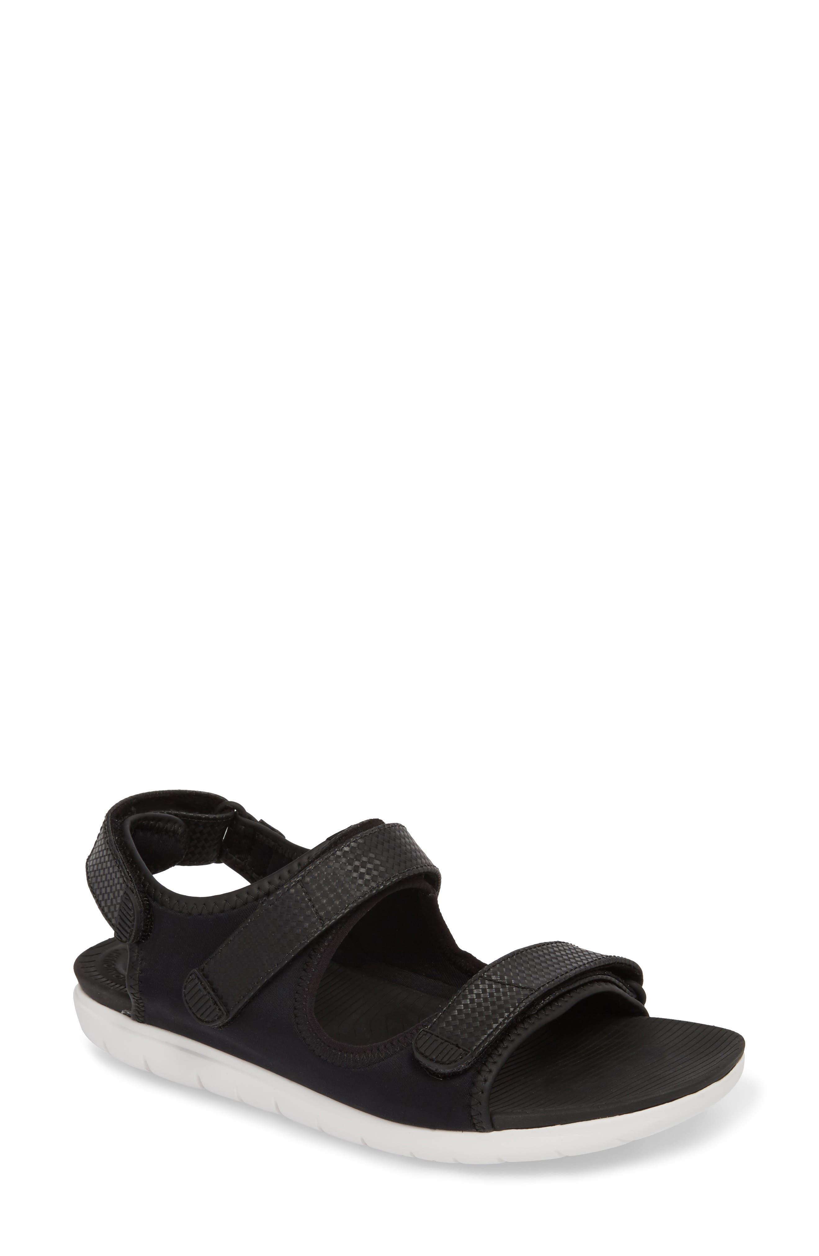 FitfFlop Neoflex<sup>™</sup> Back Strap Sandal,                             Main thumbnail 1, color,                             Black Leather