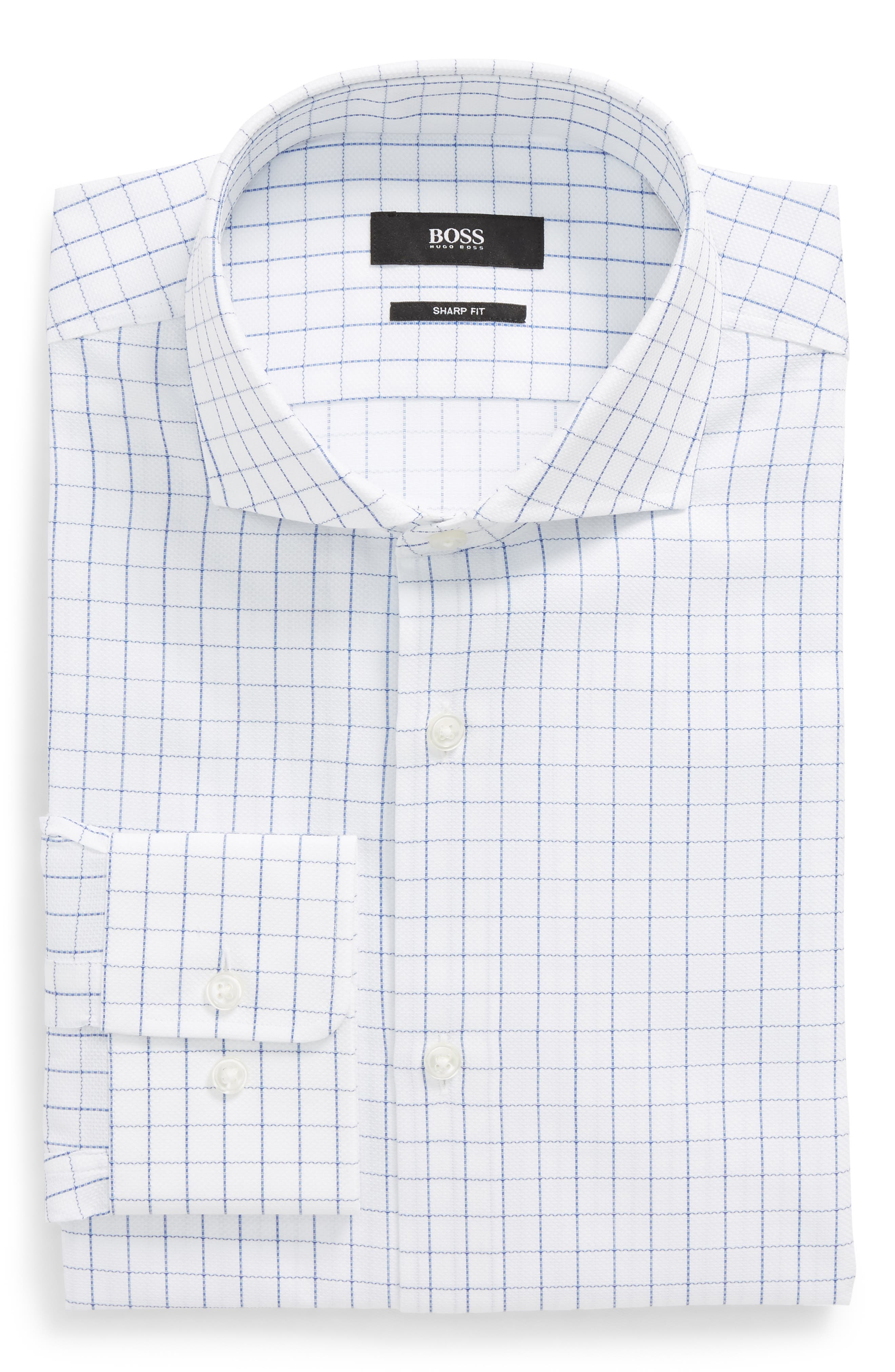 Mark Sharp Fit Check Dress Shirt,                         Main,                         color, White/ Blue