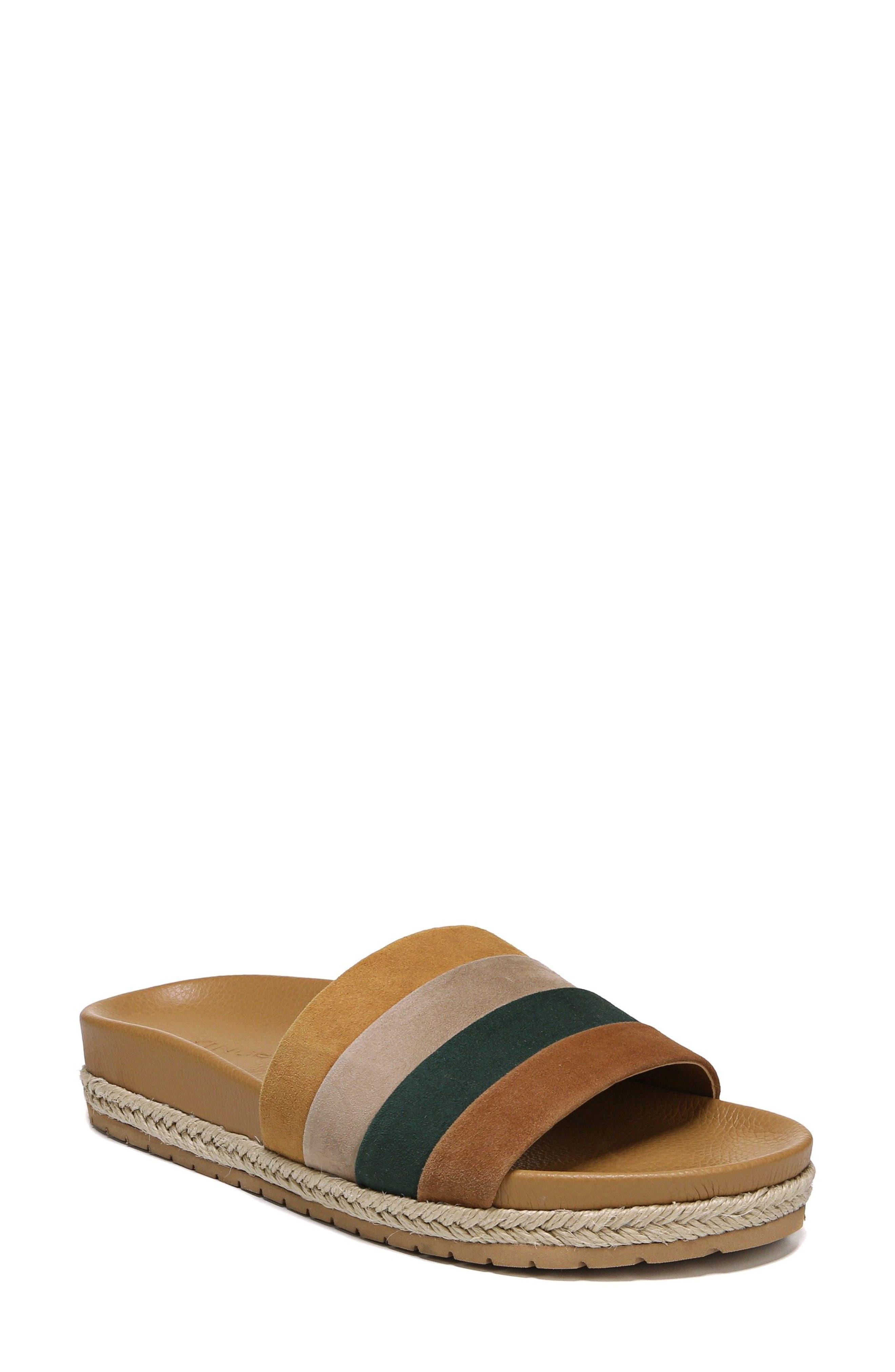 Alisa Striped Slide Sandal,                             Main thumbnail 1, color,                             Cedar Multi