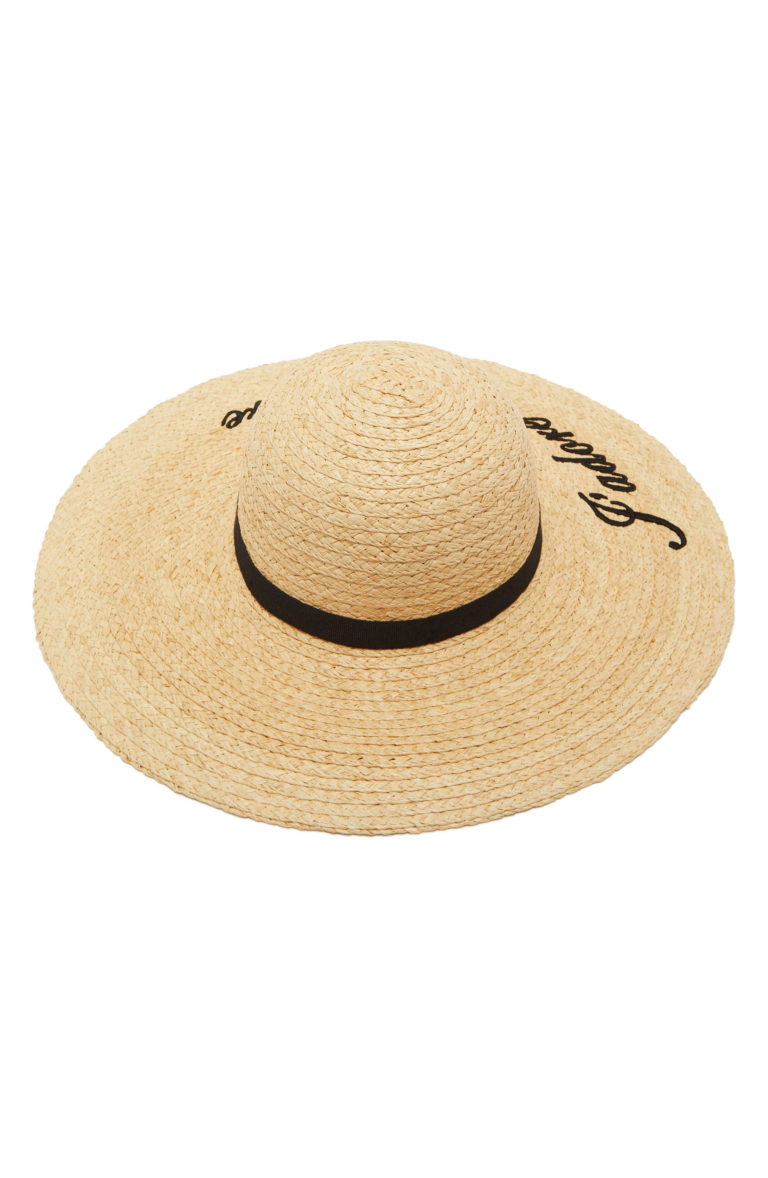 Script Embroidered Floppy Hat,                             Alternate thumbnail 2, color,                             Straw