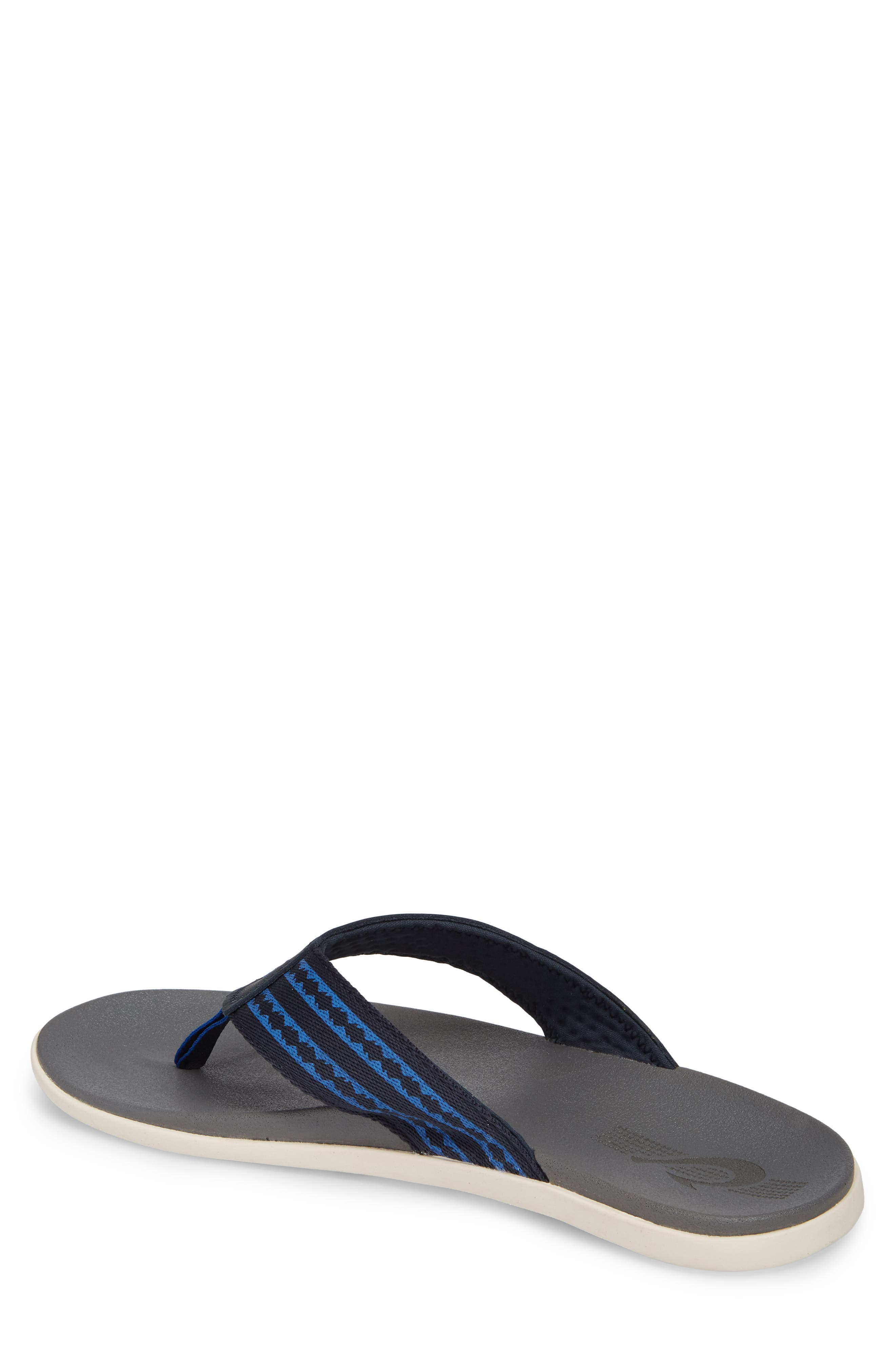 Kinona Flip Flop,                             Alternate thumbnail 2, color,                             Trench Blue/ Charcoal Leather
