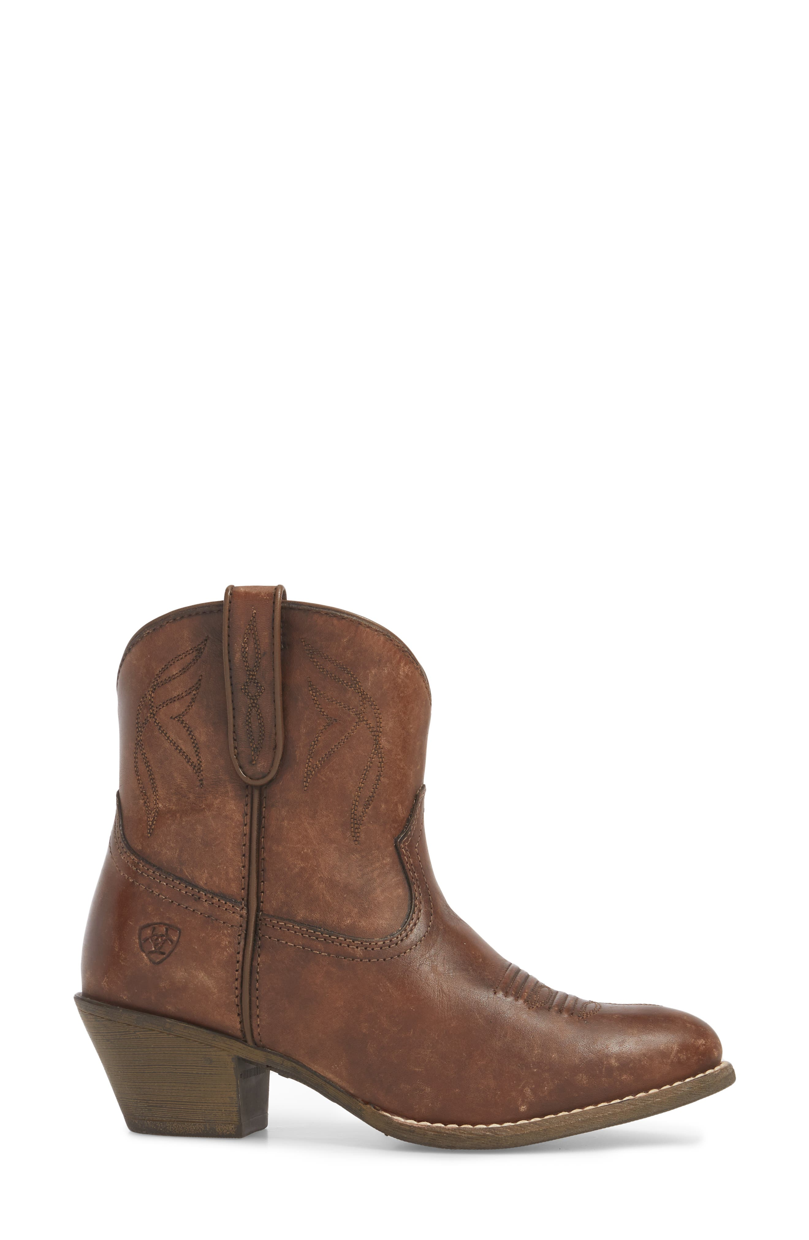 Darlin Short Western Boot,                             Alternate thumbnail 3, color,                             Distressed Brown Leather