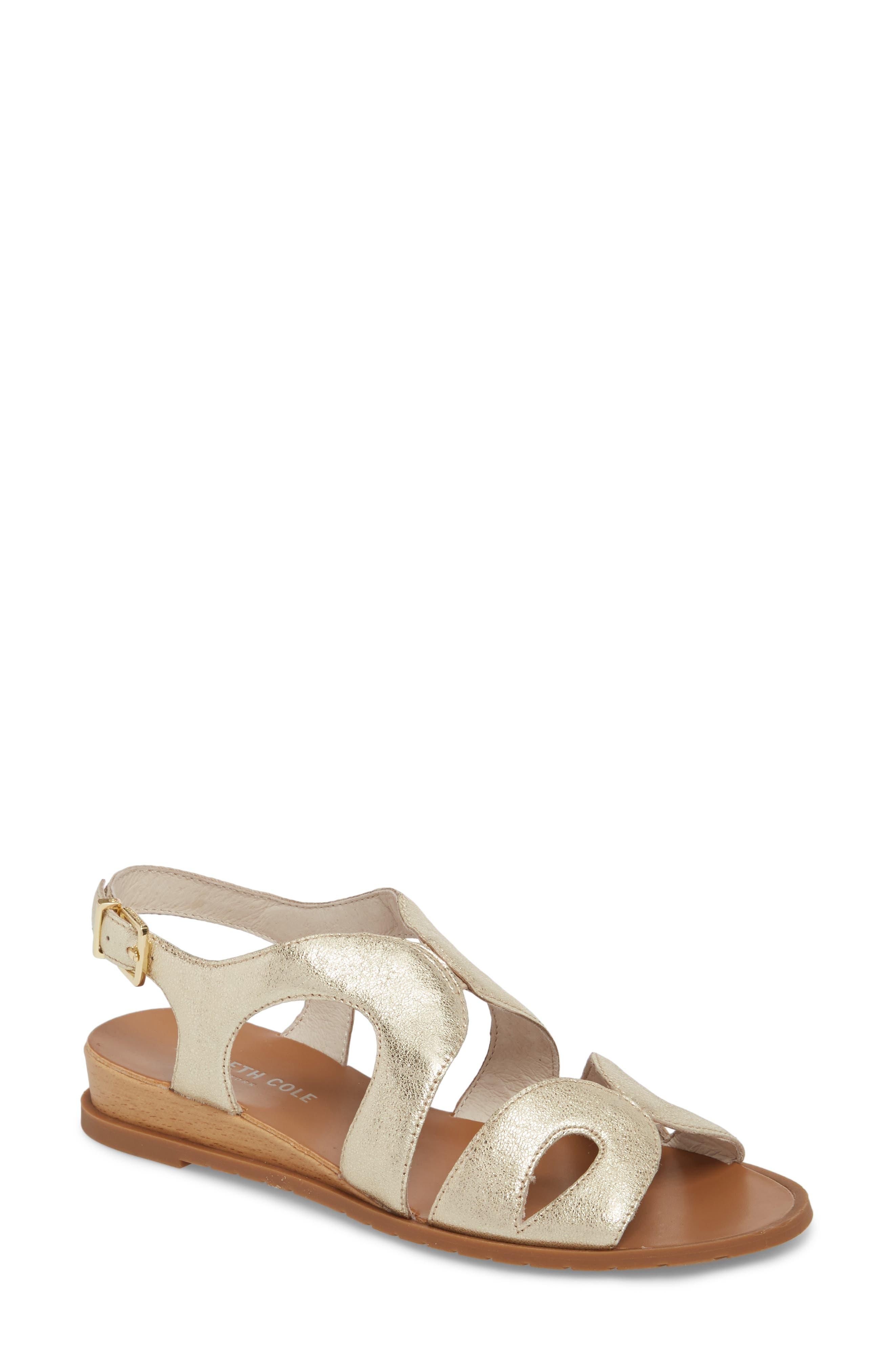 Jules Sandal,                             Main thumbnail 1, color,                             Soft Gold Metallic Leather