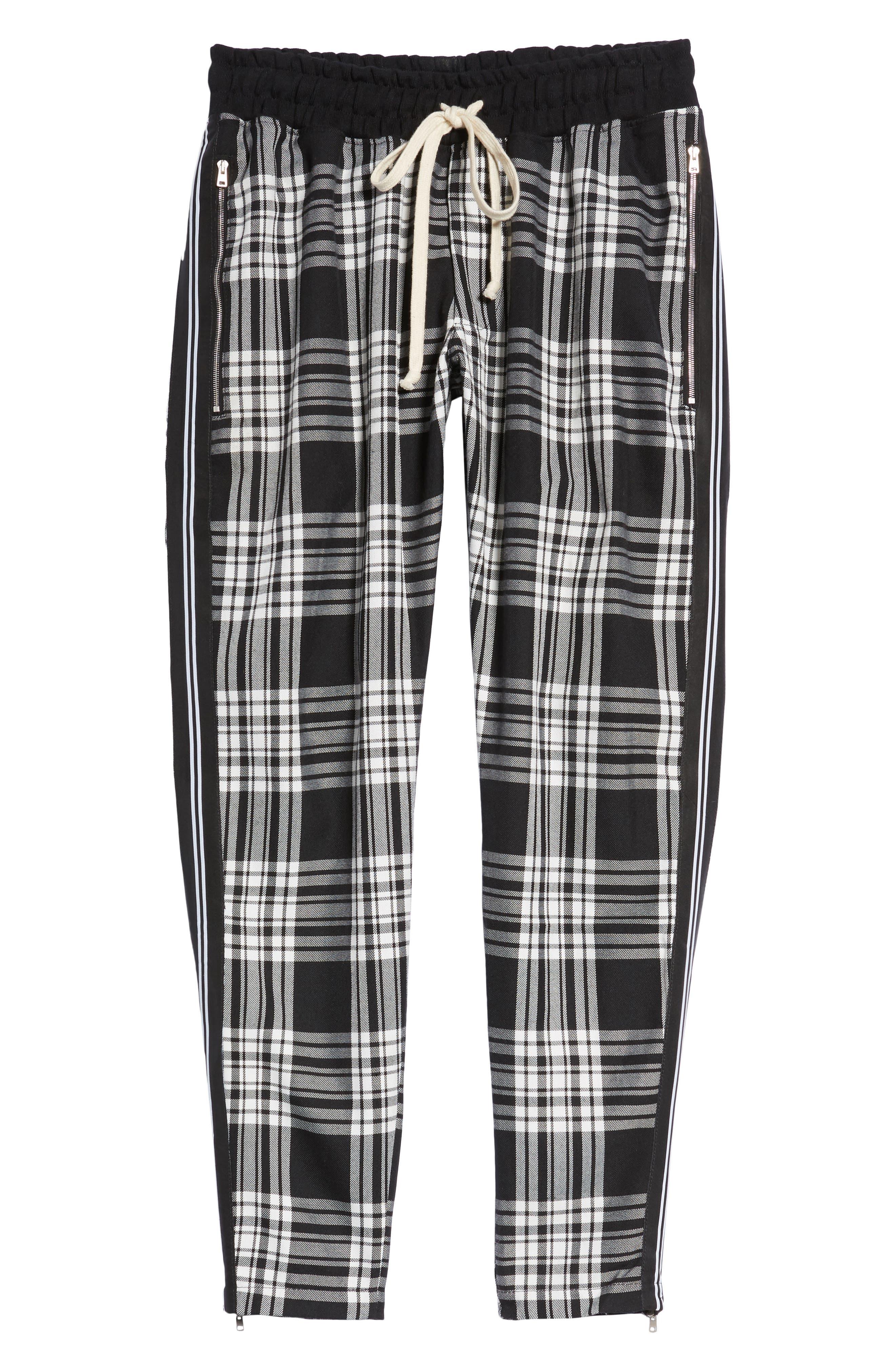 Plaid Jogger Pants,                             Alternate thumbnail 6, color,                             Black
