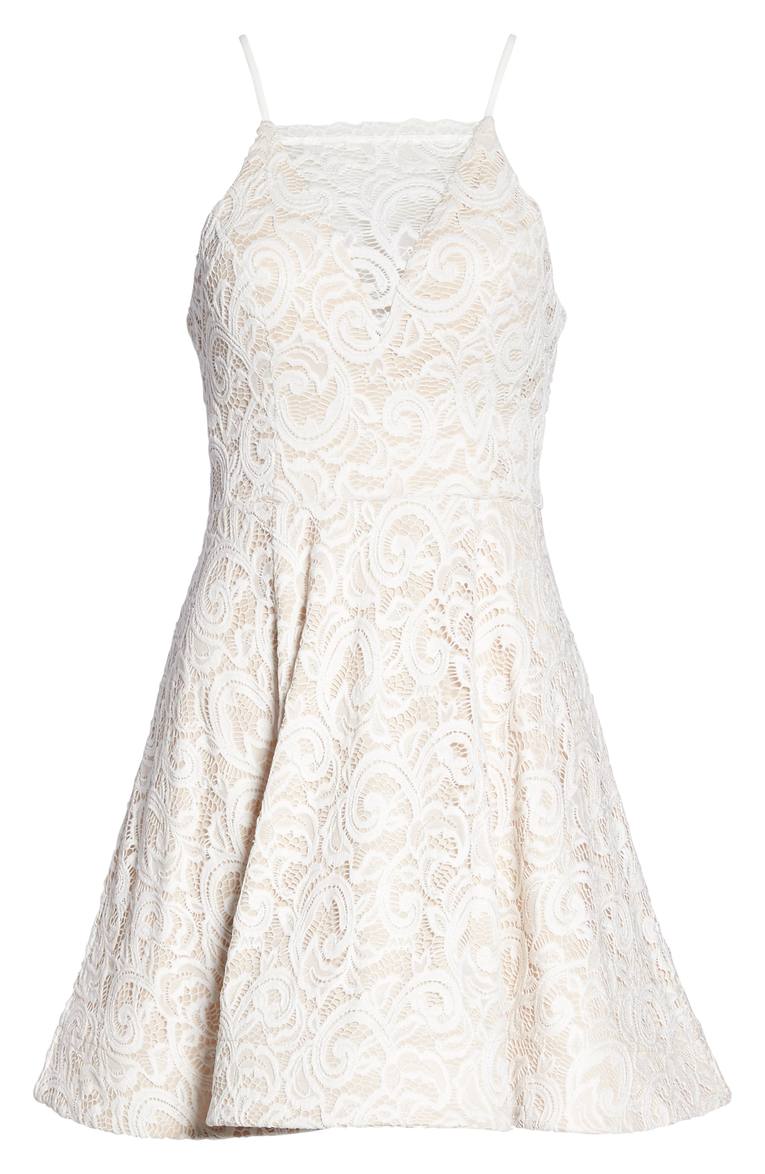 Illusion Lace Fit & Flare Dress,                             Alternate thumbnail 6, color,                             Ivory/ Nude