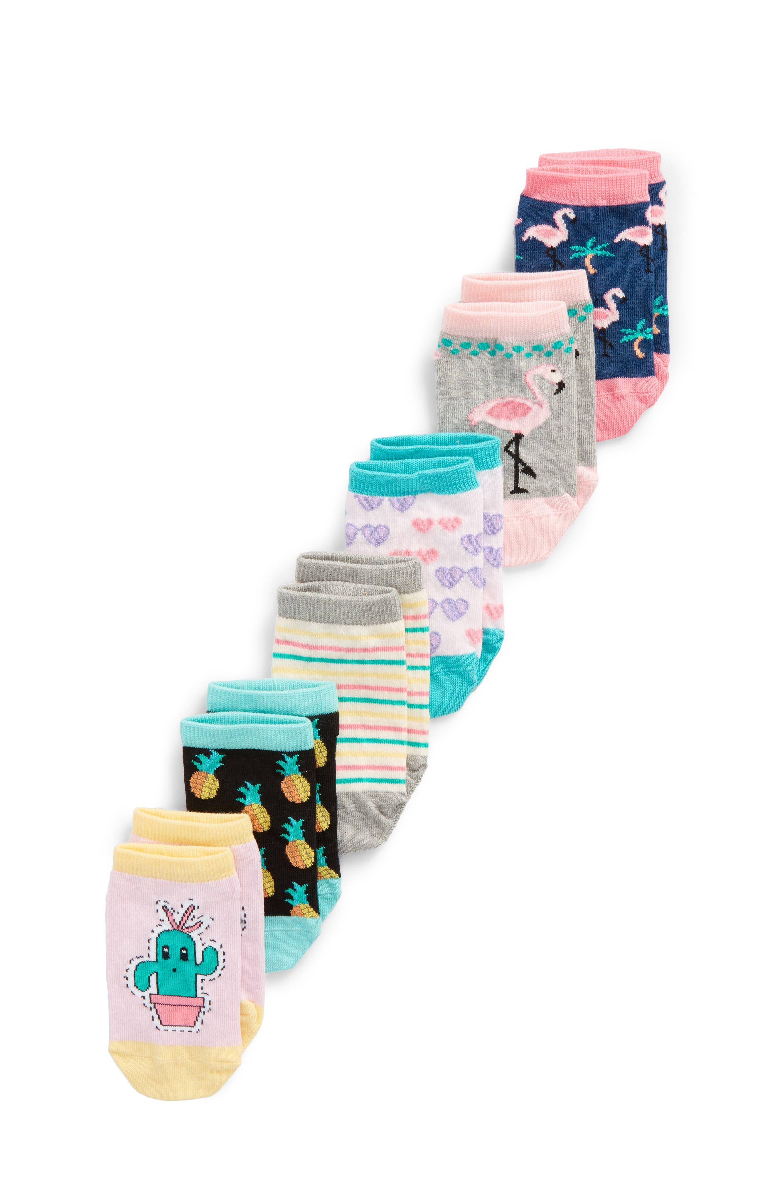 6-Pack Flamingo Low Cut Socks,                         Main,                         color, Pink Multi